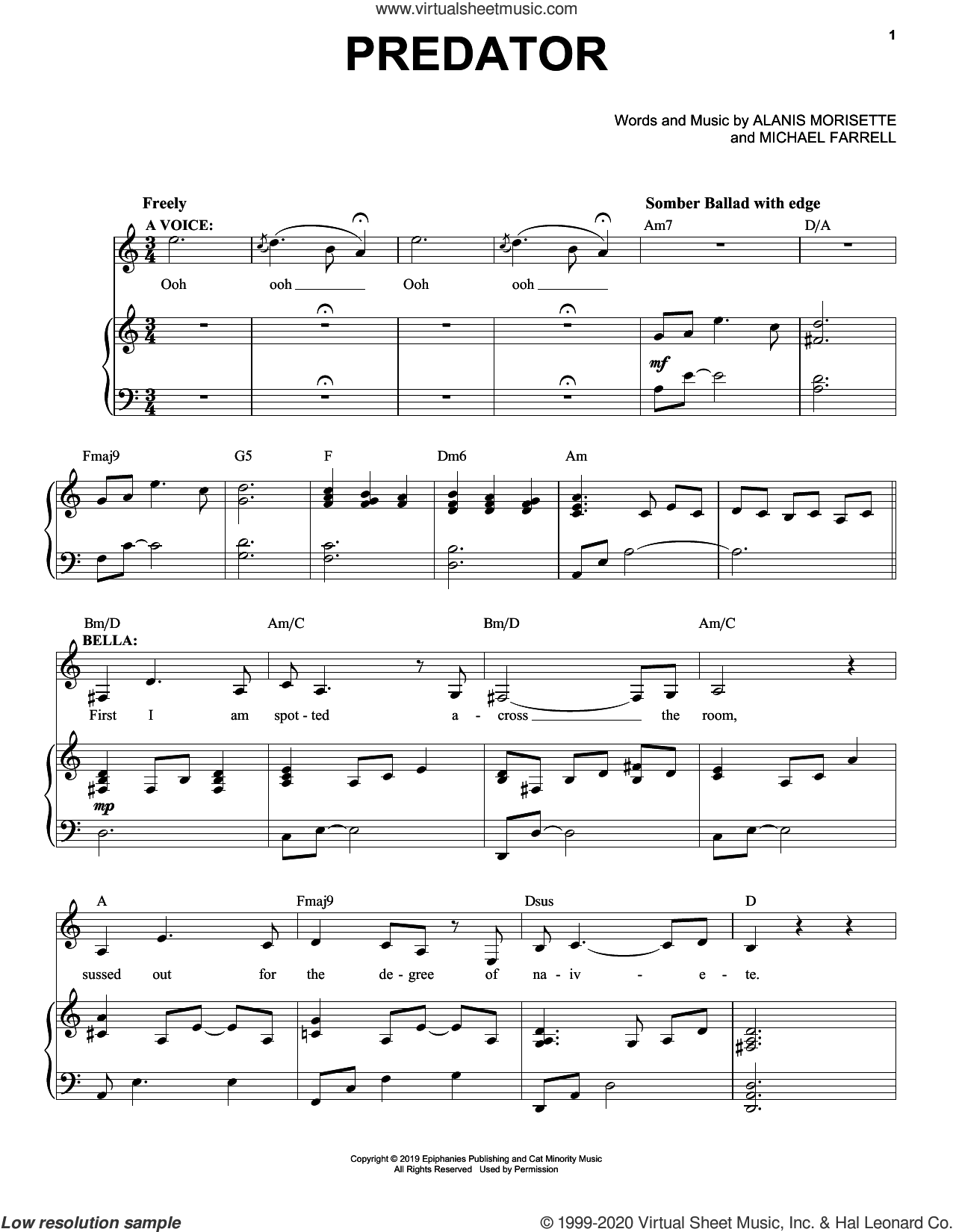Predator (from Jagged Little Pill The Musical) sheet music for voice and piano by Alanis Morissette, Glen Ballard and Michael Farrell, intermediate skill level