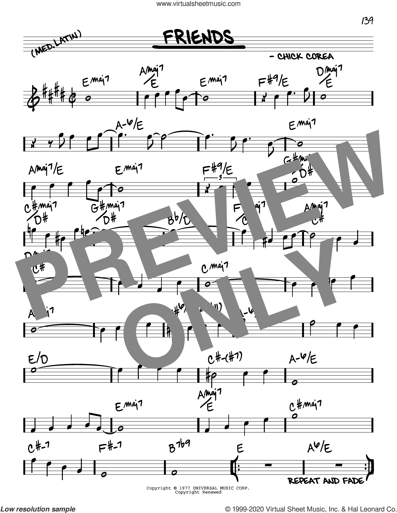 Friends sheet music for voice and other instruments (real book) by Chick Corea, intermediate skill level