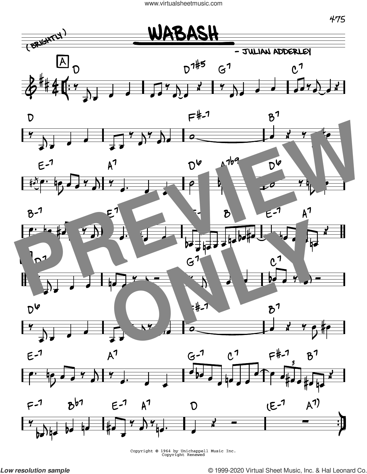 Wabash sheet music for voice and other instruments (real book) by Cannonball Adderley and Julian Adderley, intermediate skill level