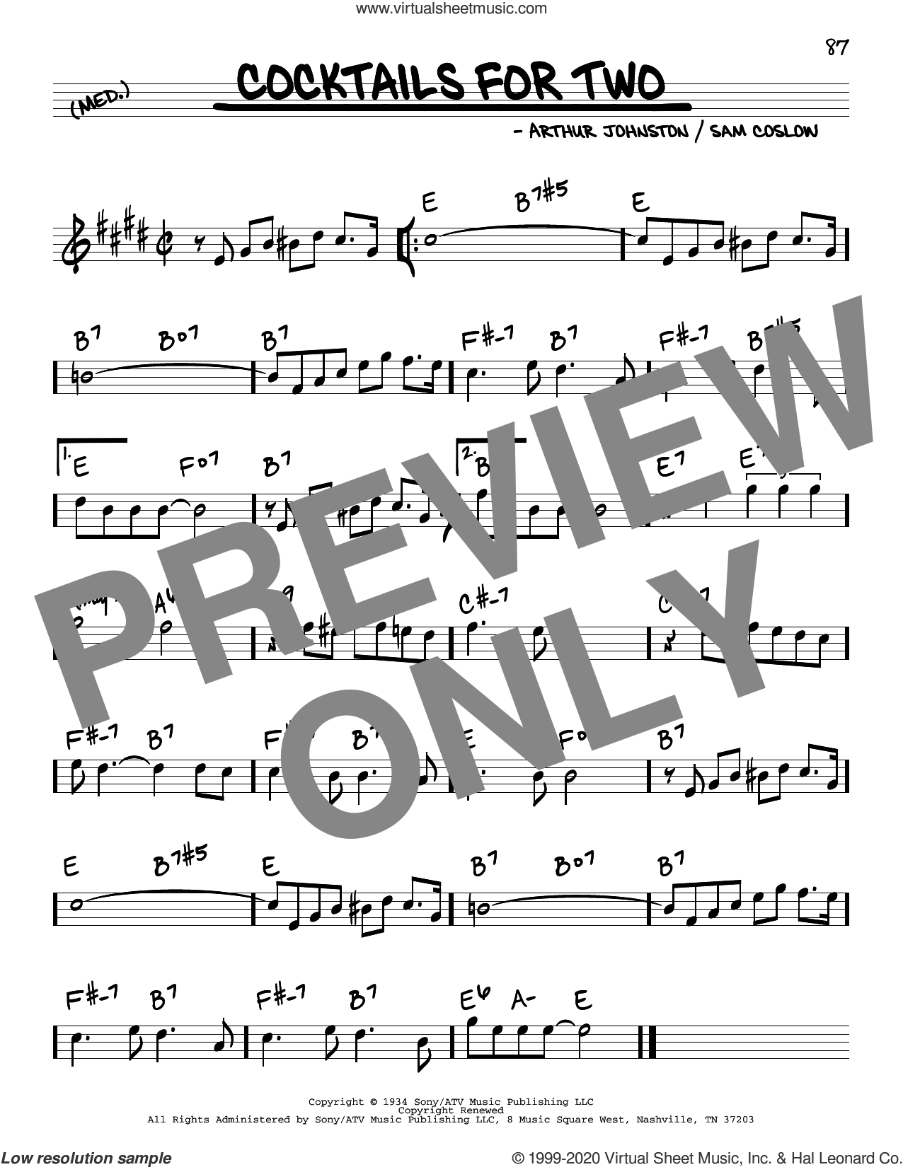 Cocktails For Two sheet music for voice and other instruments (real book) by Arthur Johnston, Spike Jones & The City Slickers and Sam Coslow, intermediate skill level