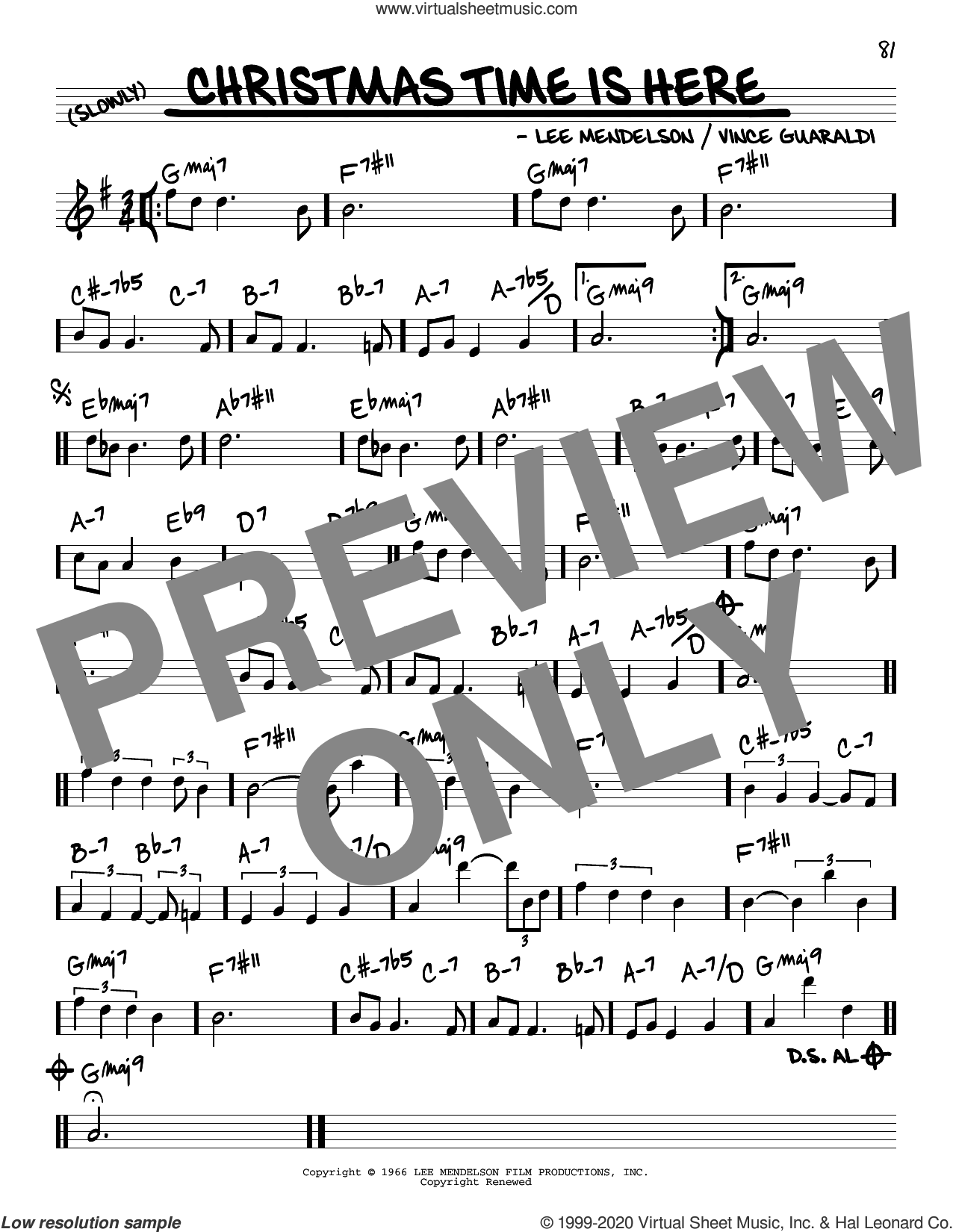 Christmas Time Is Here sheet music for voice and other instruments (real book) by Vince Guaraldi and Lee Mendelson, intermediate skill level