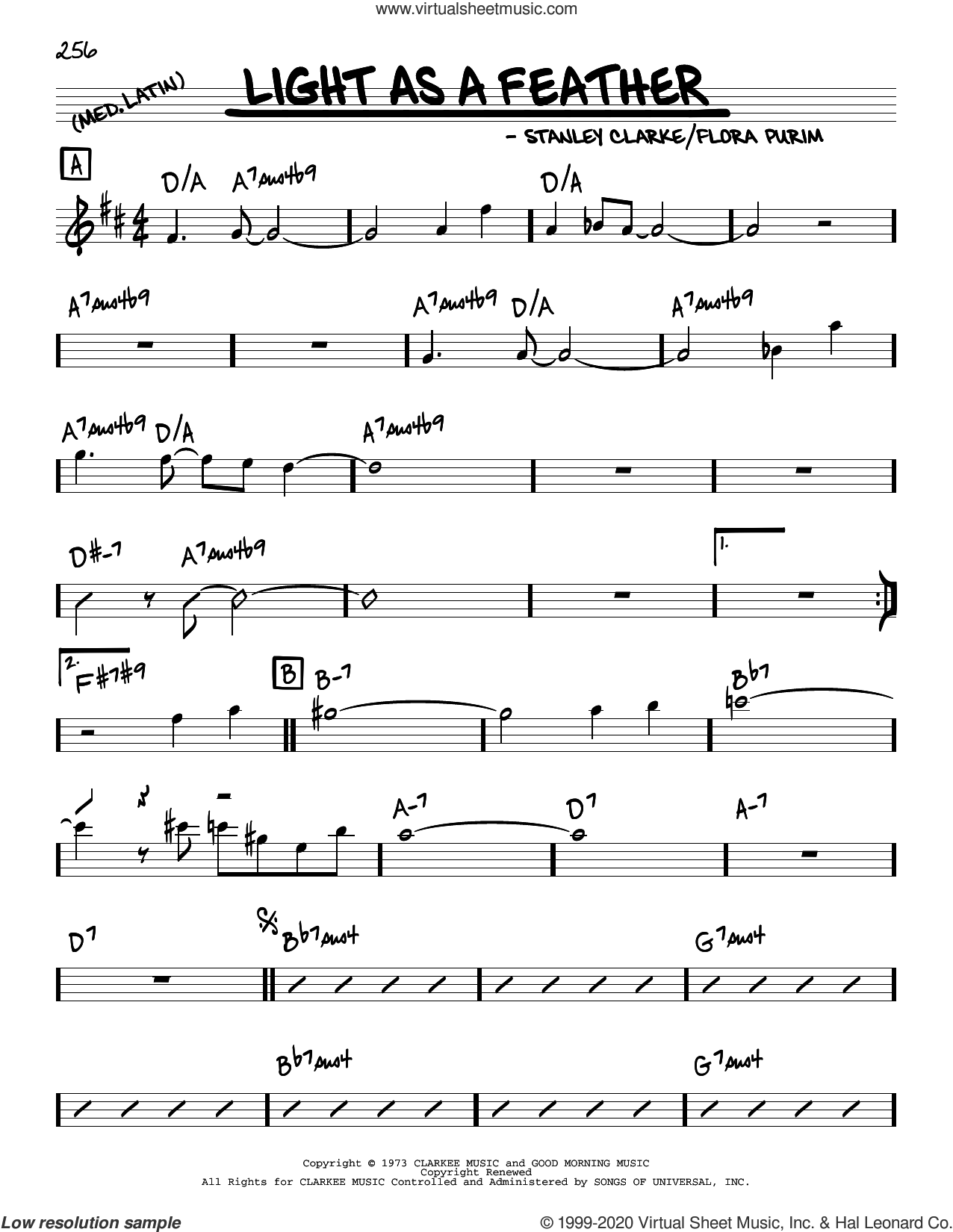 Light As A Feather sheet music for voice and other instruments (real book) by Stanley Clarke and Flora Purim, intermediate skill level