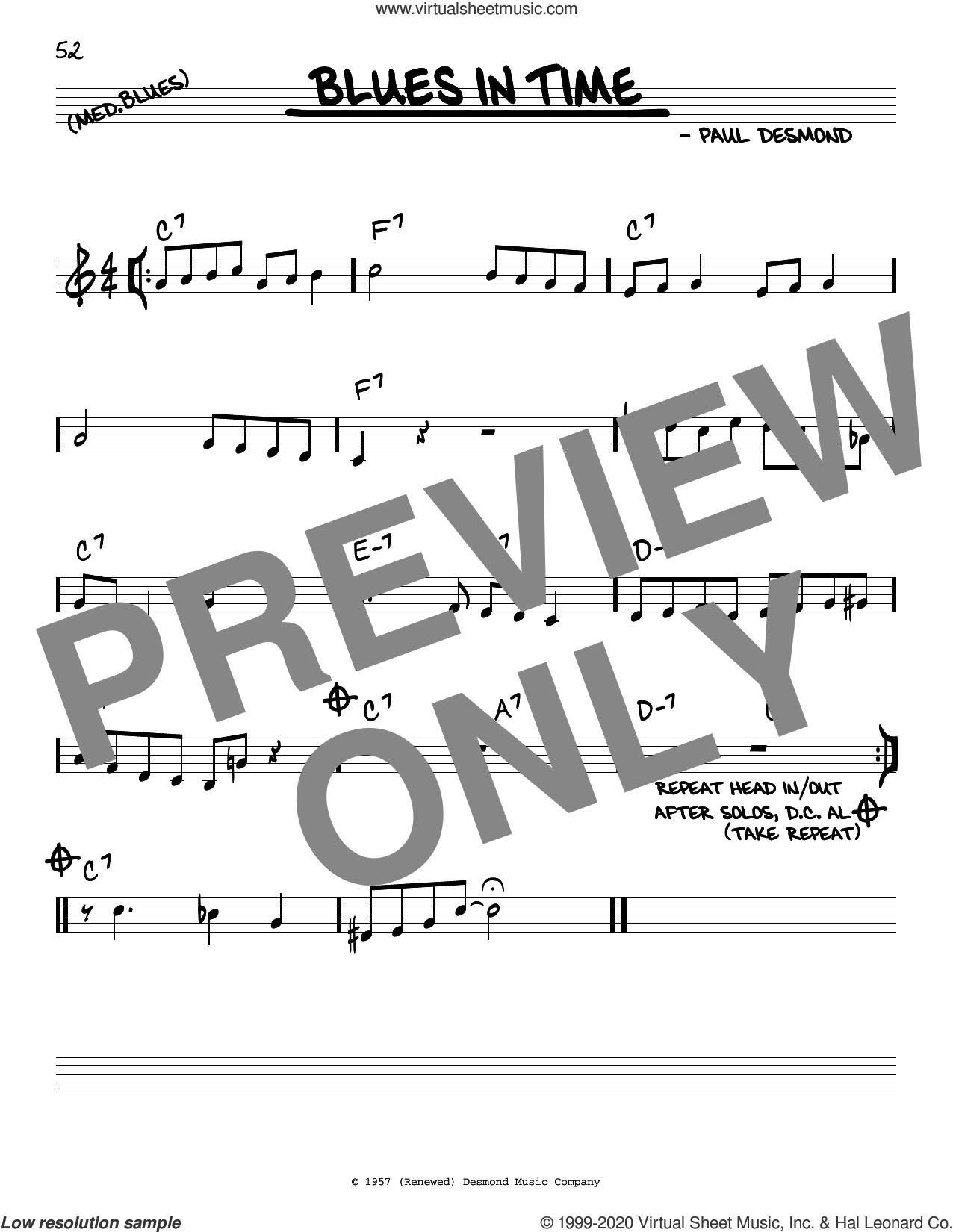 Blues In Time sheet music for voice and other instruments (real book) by Paul Desmond, intermediate skill level