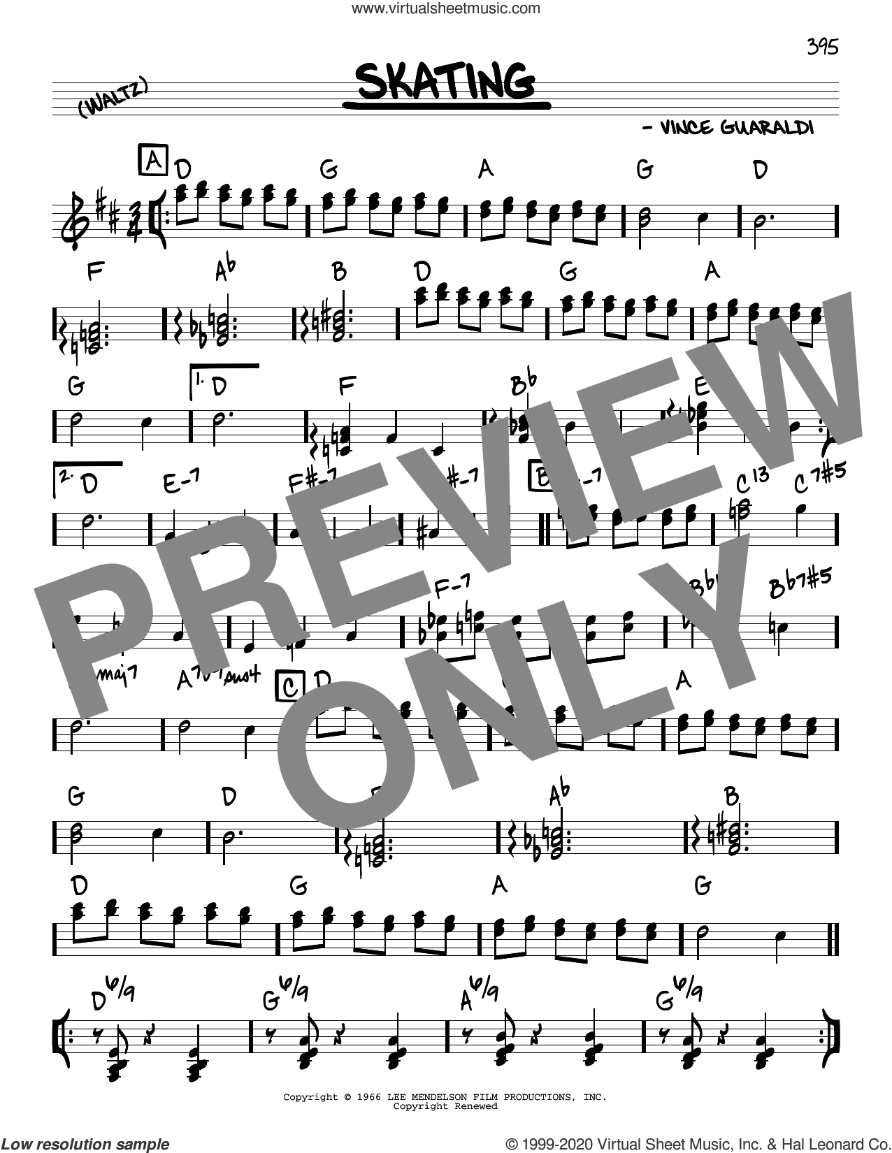 Skating sheet music for voice and other instruments (real book) by Vince Guaraldi, intermediate skill level