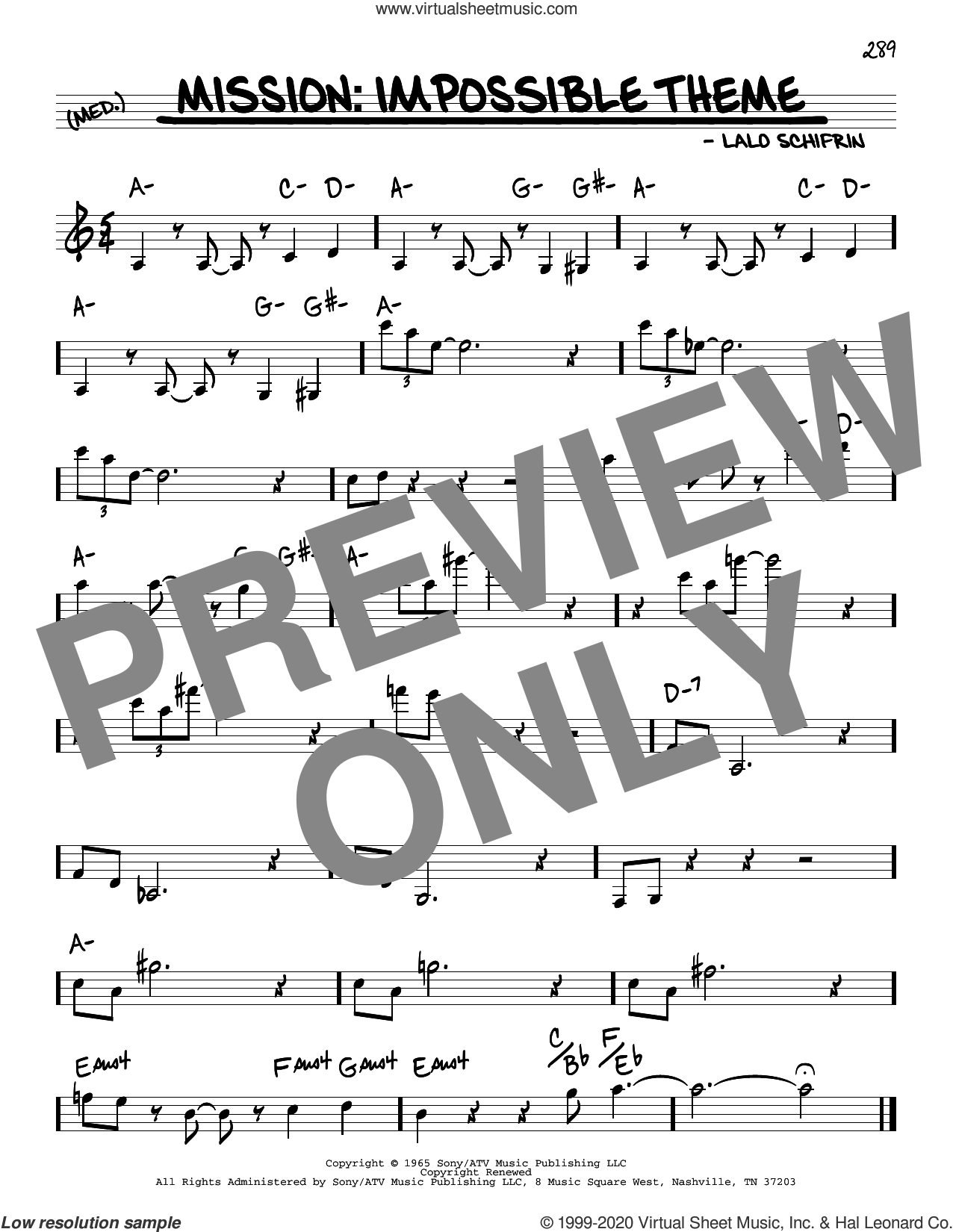 Mission: Impossible Theme sheet music for voice and other instruments (real book) by Lalo Schifrin, intermediate skill level