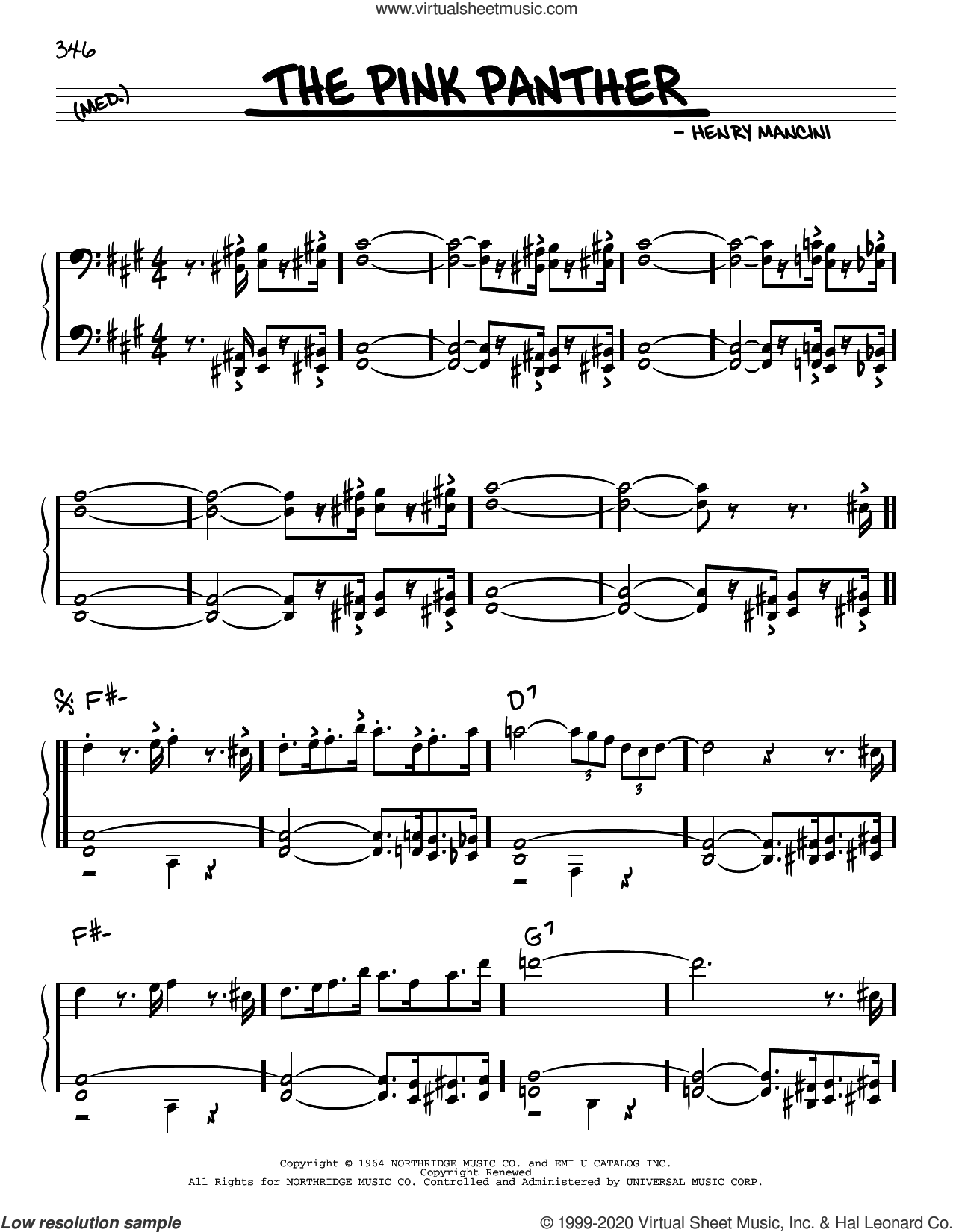 The Pink Panther sheet music for voice and other instruments (real book) by Henry Mancini, intermediate skill level