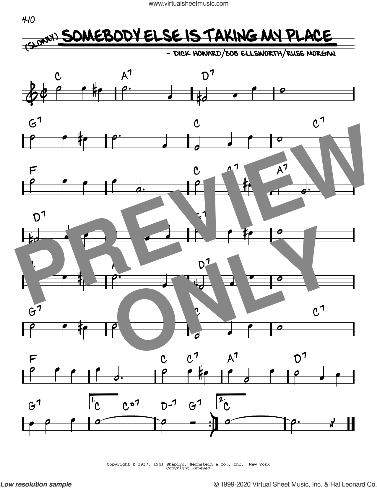 Somebody Else Is Taking My Place sheet music for voice and other instruments (real book) by Peggy Lee, Bob Ellsworth, Dick Howard and Russ Morgan, intermediate skill level