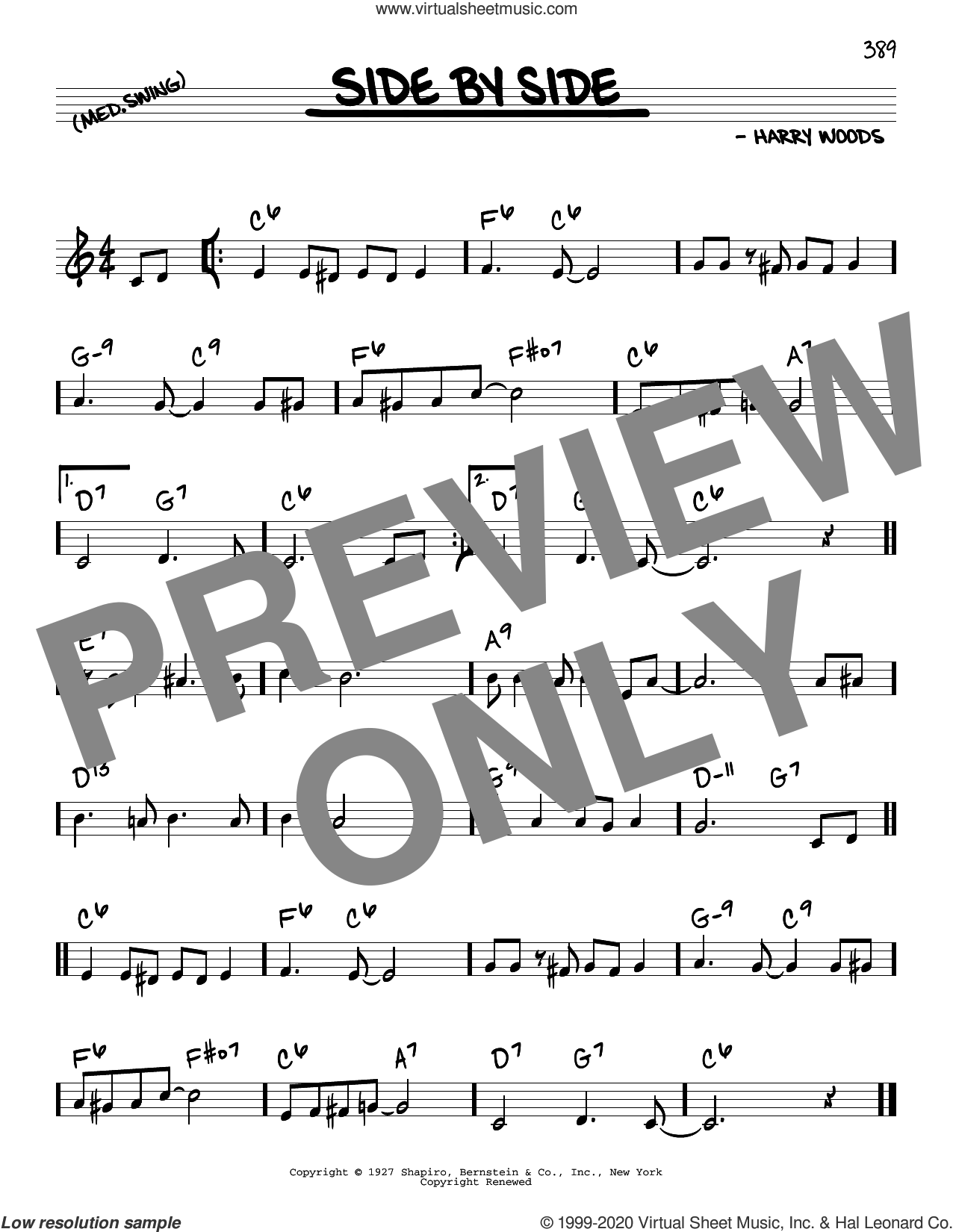 Side By Side sheet music for voice and other instruments (real book) by Patsy Cline and Harry Woods, intermediate skill level