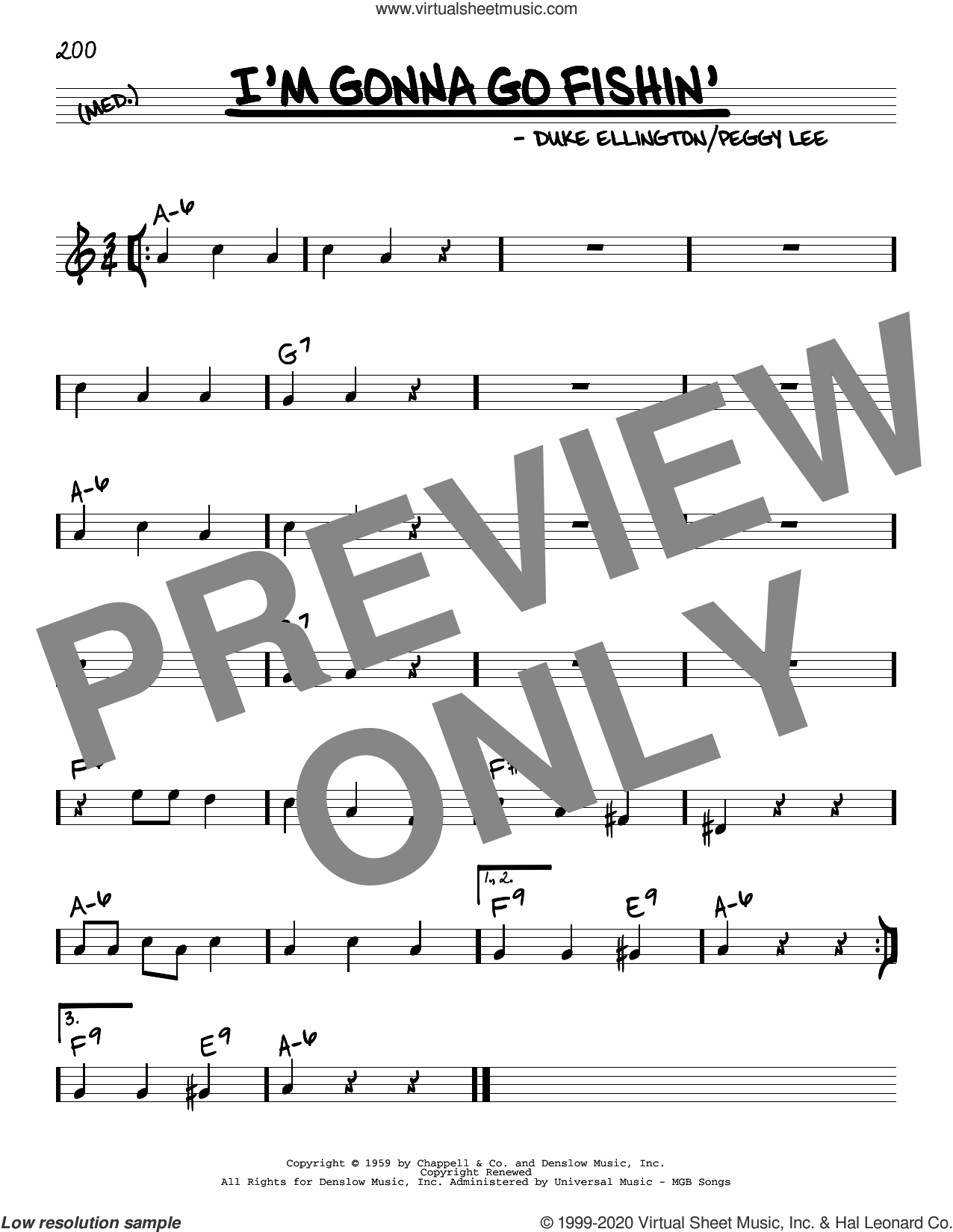 I'm Gonna Go Fishin' sheet music for voice and other instruments (real book) by Peggy Lee and Duke Ellington, intermediate skill level