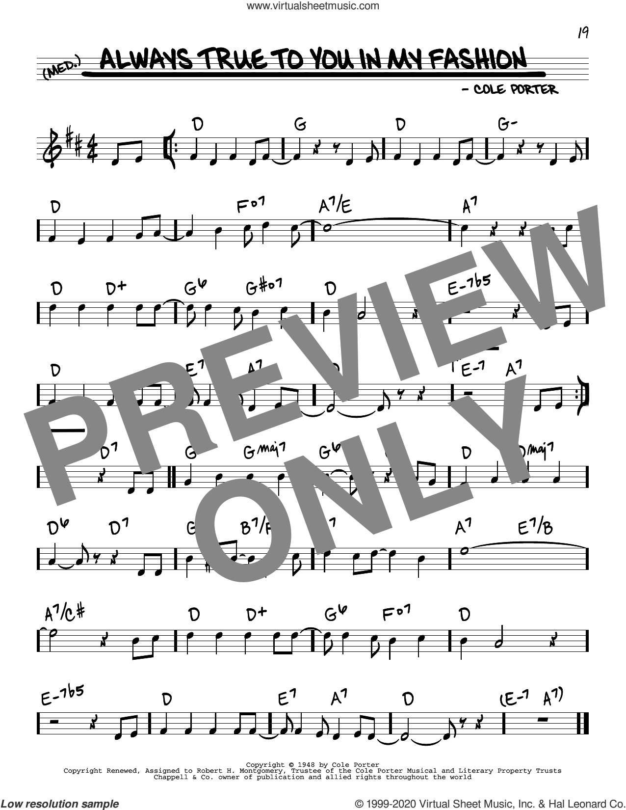 Always True To You In My Fashion sheet music for voice and other instruments (real book) by Cole Porter, Ann Miller & Tommy Rall, Jane Harvey and Jo Stafford, intermediate skill level
