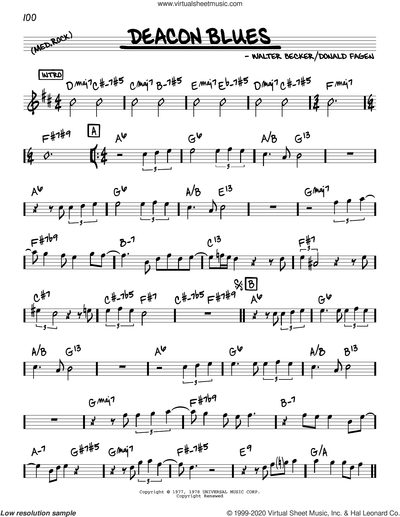Deacon Blues sheet music for voice and other instruments (real book) by Steely Dan, Donald Fagen and Walter Becker, intermediate skill level