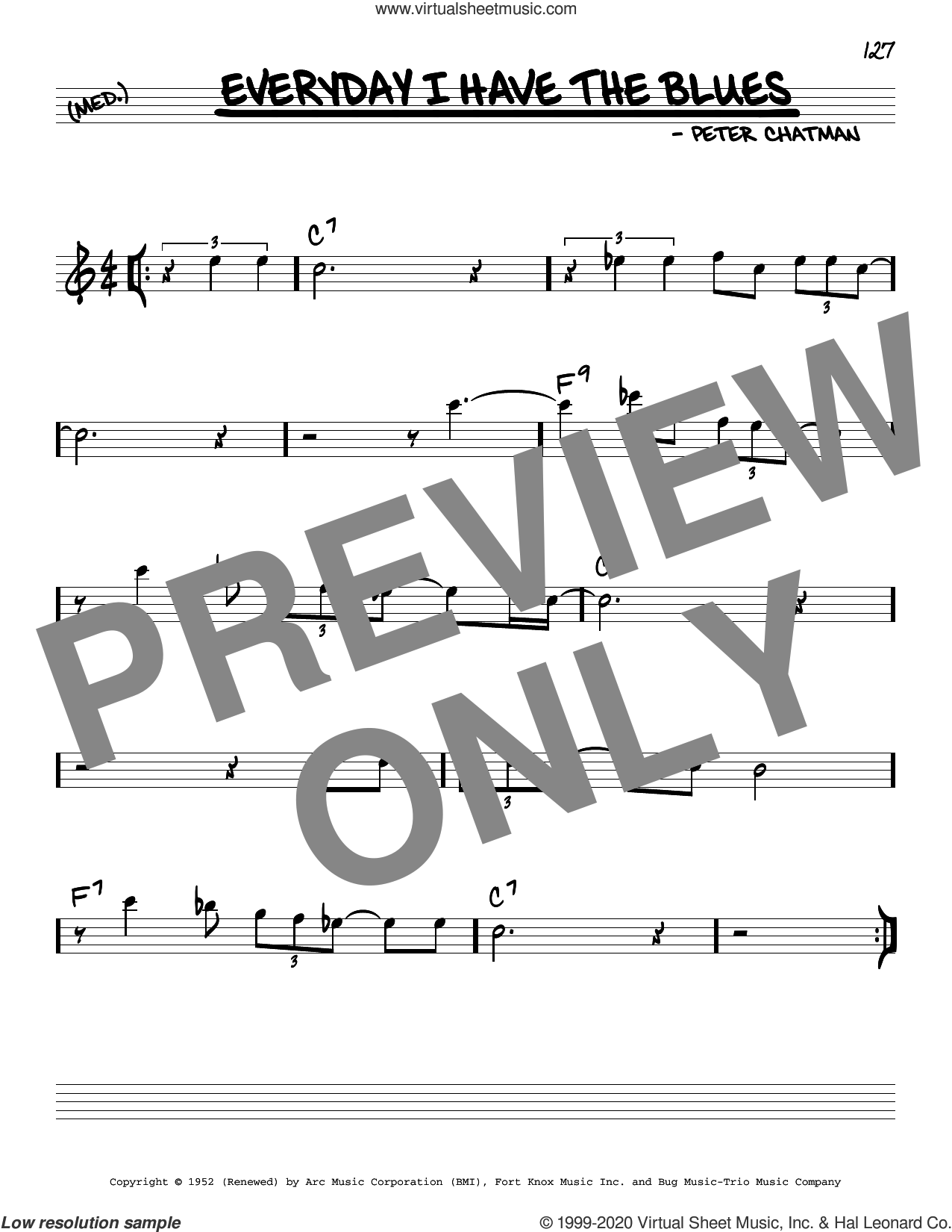 Every Day I Have The Blues sheet music for voice and other instruments (real book) by B.B. King and Peter Chatman, intermediate skill level