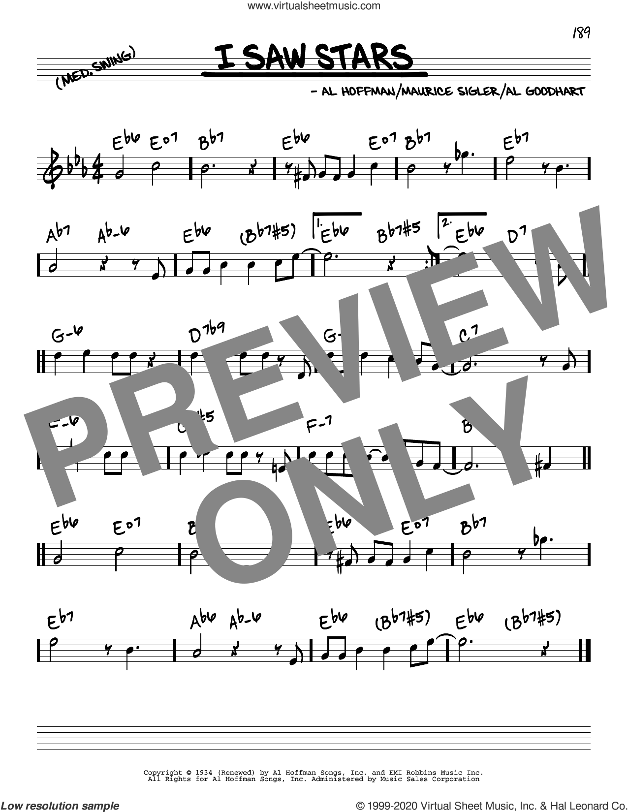 I Saw Stars sheet music for voice and other instruments (real book) by Freddie Martin and His Orchestra, Al Goodhart, Al Hoffman and Maurice Sigler, intermediate skill level