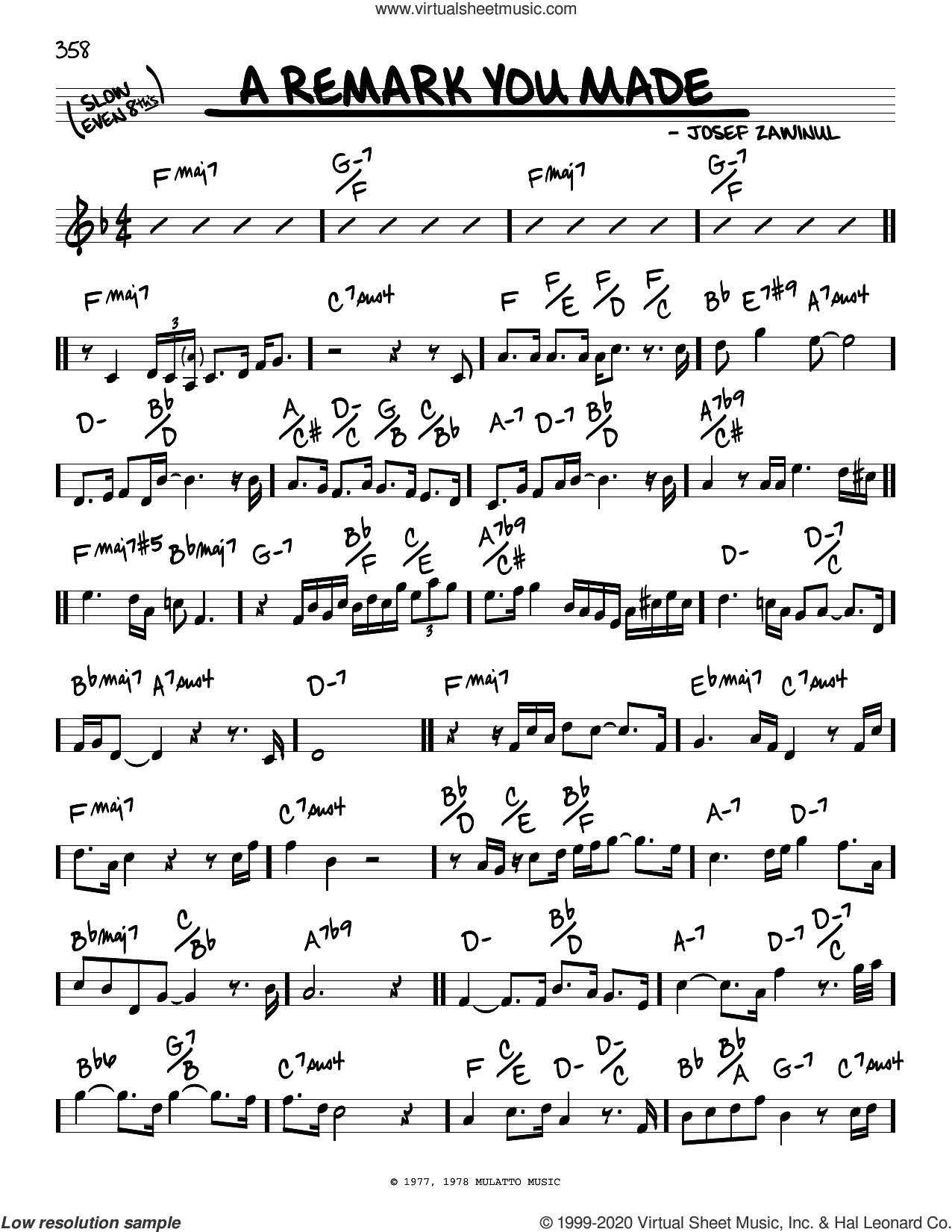 A Remark You Made sheet music for voice and other instruments (real book) by Weather Report and Josef Zawinul, intermediate skill level