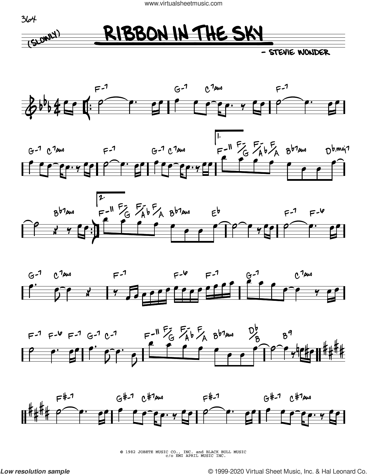 Ribbon In The Sky sheet music for voice and other instruments (real book) by Stevie Wonder, intermediate skill level