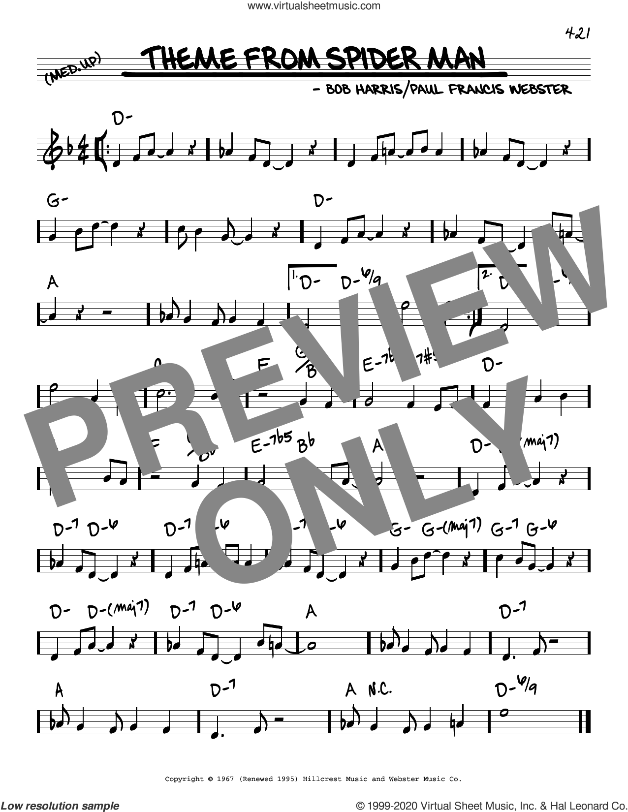 Theme From Spider Man sheet music for voice and other instruments (real book) by Bob Harris and Paul Francis Webster, intermediate skill level