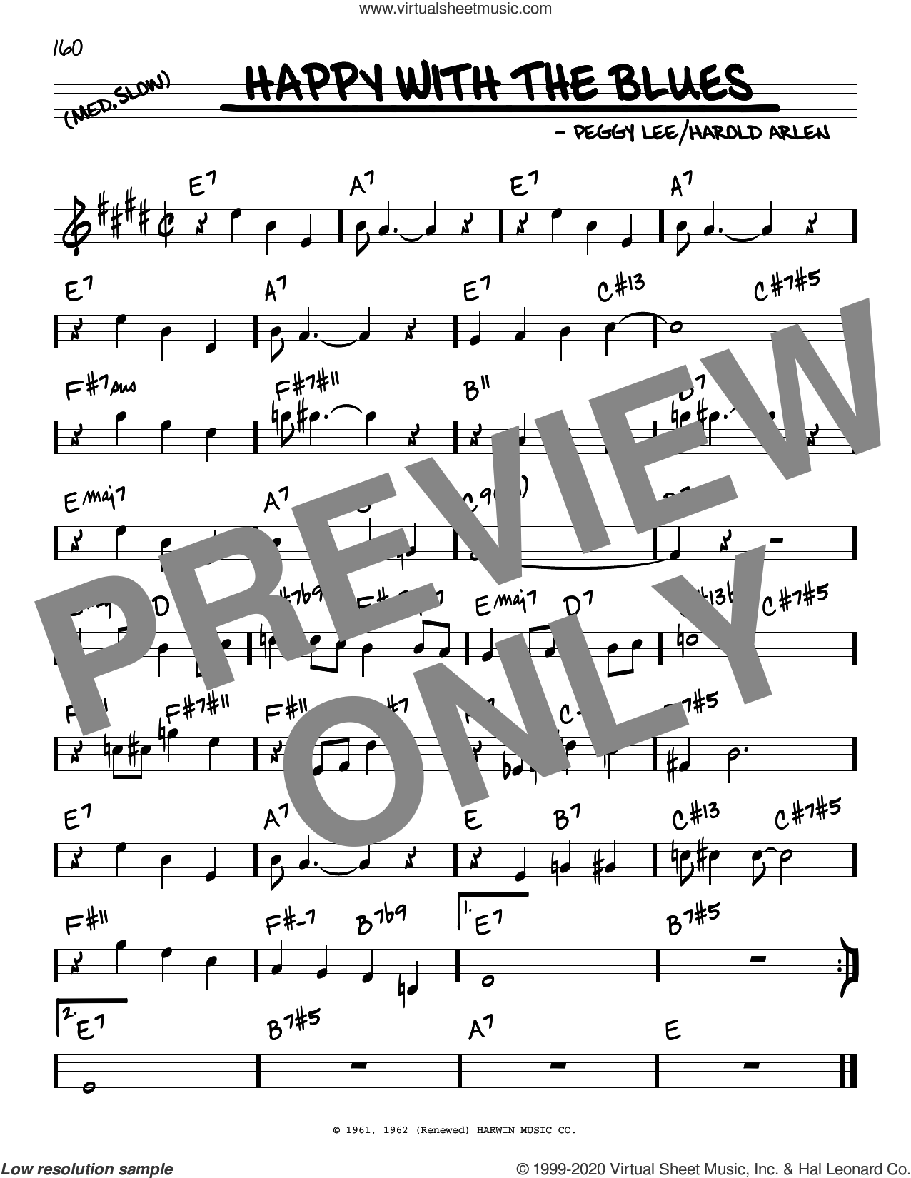 Happy With The Blues sheet music for voice and other instruments (real book) by Harold Arlen and Peggy Lee, intermediate skill level