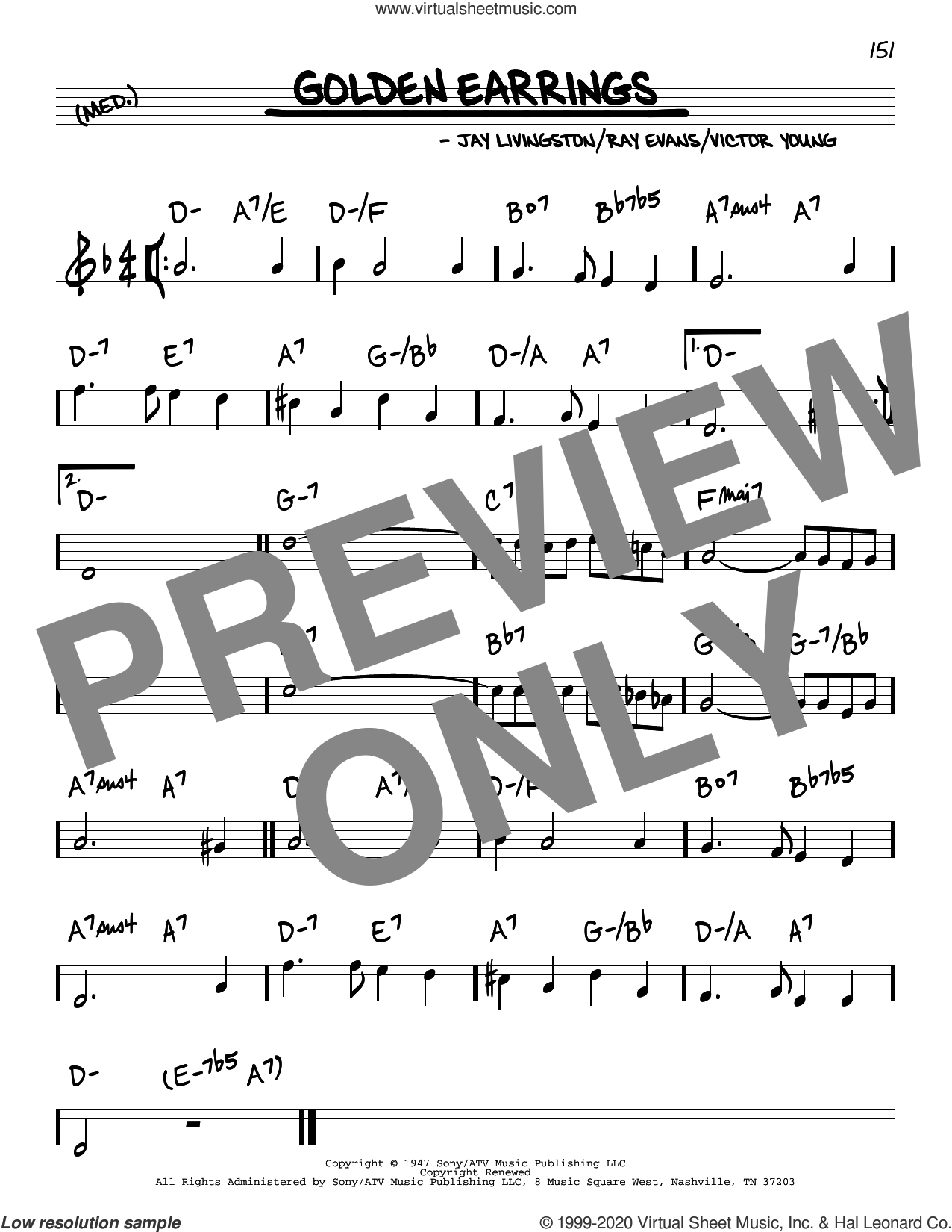 Golden Earrings sheet music for voice and other instruments (real book) by Peggy Lee, Jay Livingston, Ray Evans and Victor Young, intermediate skill level