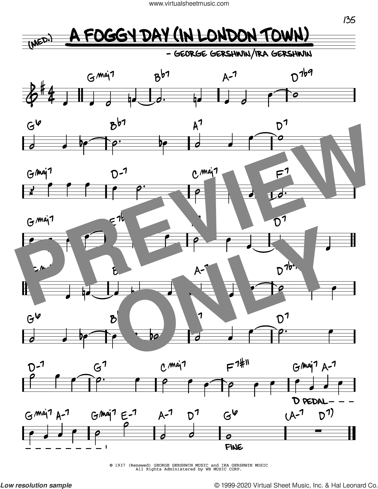 A Foggy Day (In London Town) sheet music for voice and other instruments (real book) by George Gershwin and Ira Gershwin, intermediate skill level