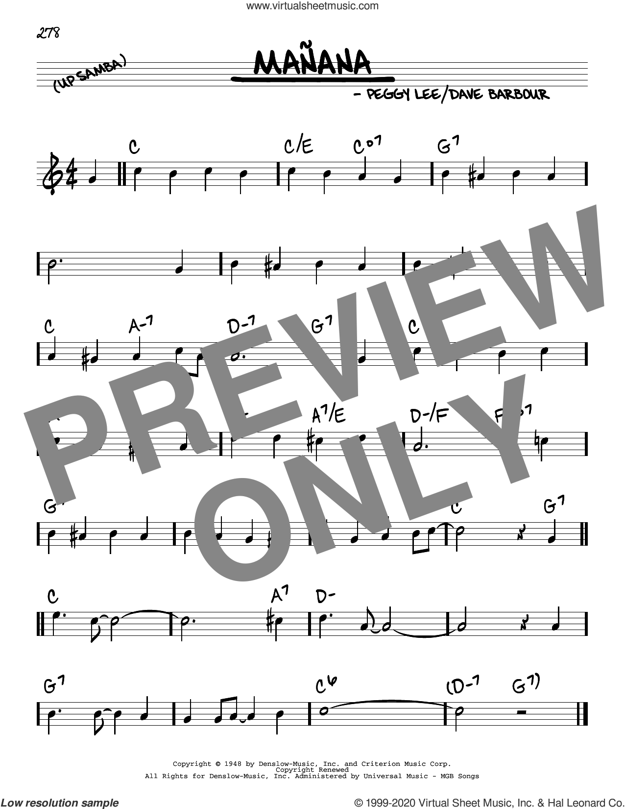 Manana sheet music for voice and other instruments (real book) by Peggy Lee and Dave Barbour, intermediate skill level