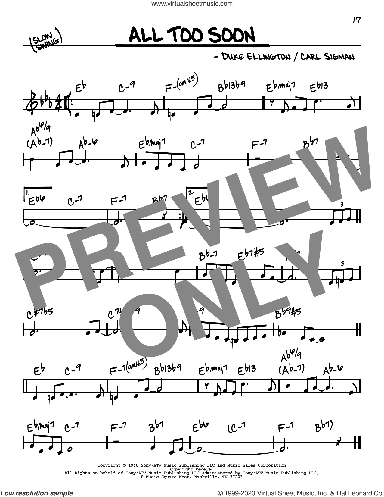 All Too Soon sheet music for voice and other instruments (real book) by Duke Ellington and Carl Sigman, intermediate skill level