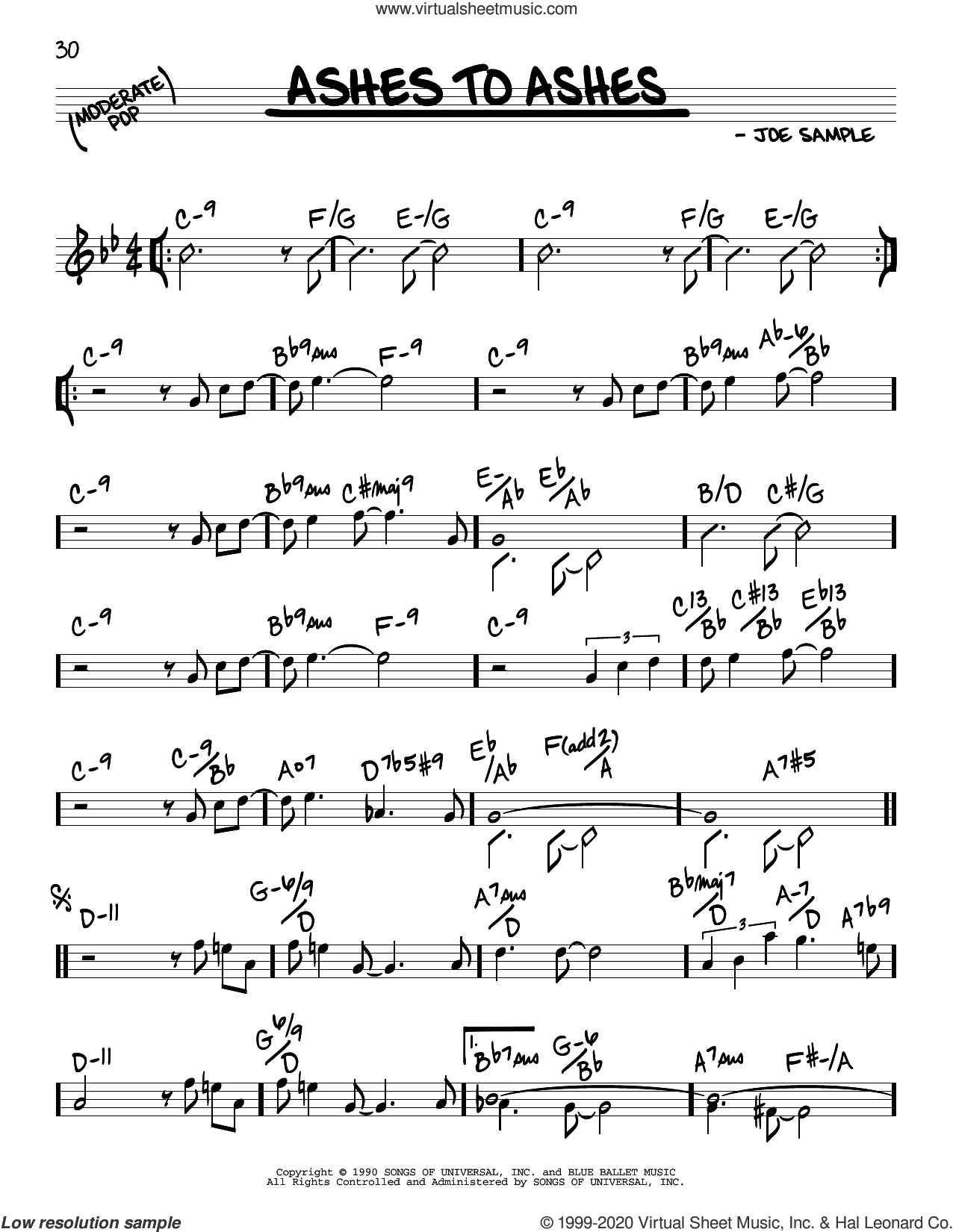 Ashes To Ashes sheet music for voice and other instruments (real book) by Joe Sample, intermediate skill level