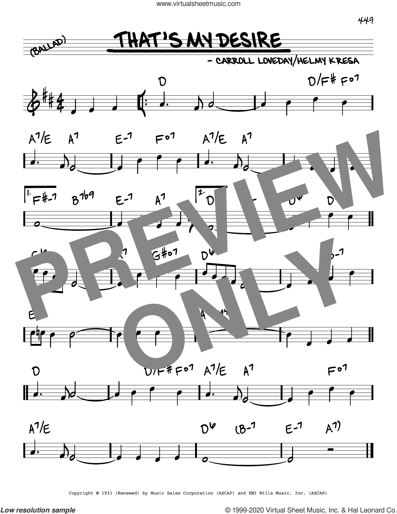 That's My Desire sheet music for voice and other instruments (real book) by Carroll Loveday and Helmy Kresa, intermediate skill level