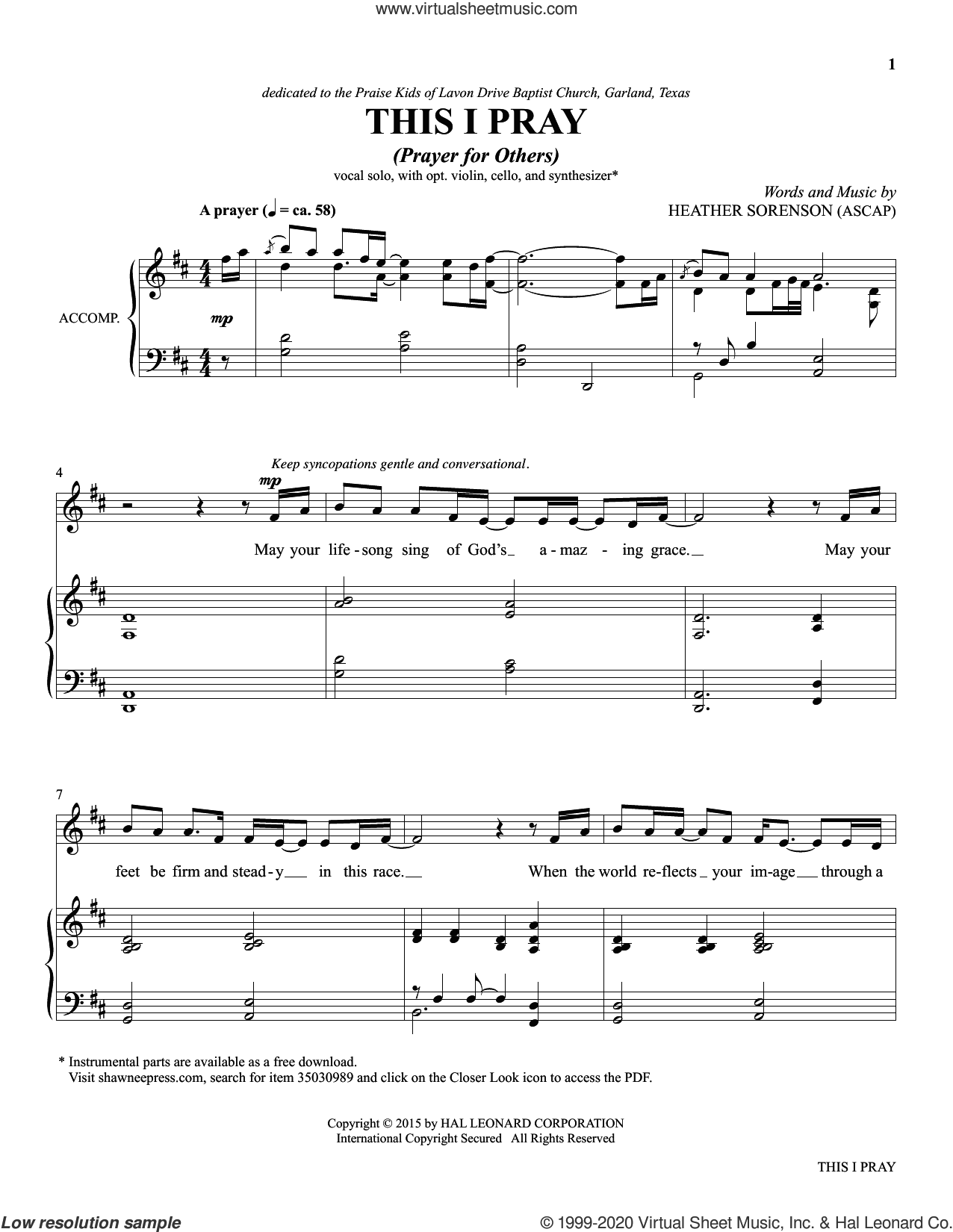 This I Pray (from The Prayer Project) sheet music for voice and piano by Heather Sorenson, intermediate skill level