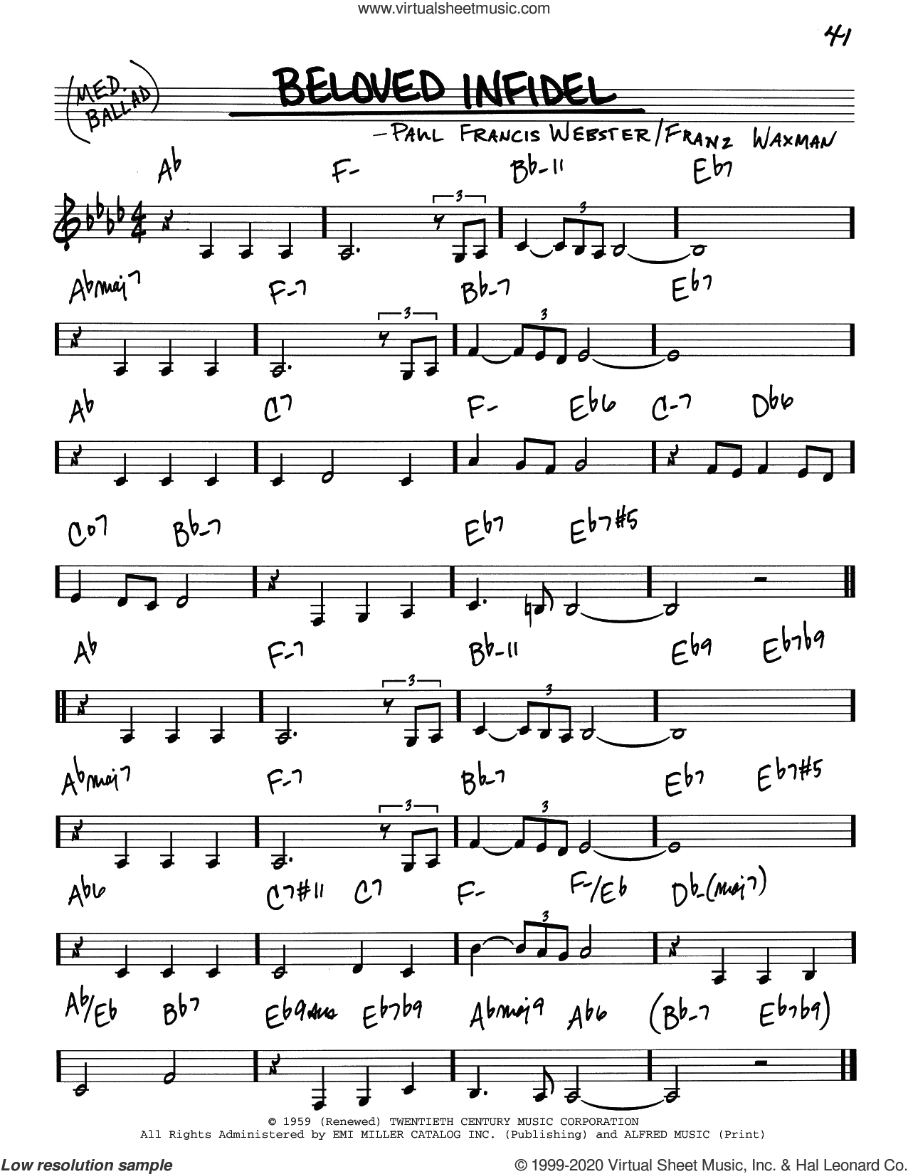 Beloved Infidel sheet music for voice and other instruments (real book) by Paul Francis Webster and Franz Waxman, intermediate skill level