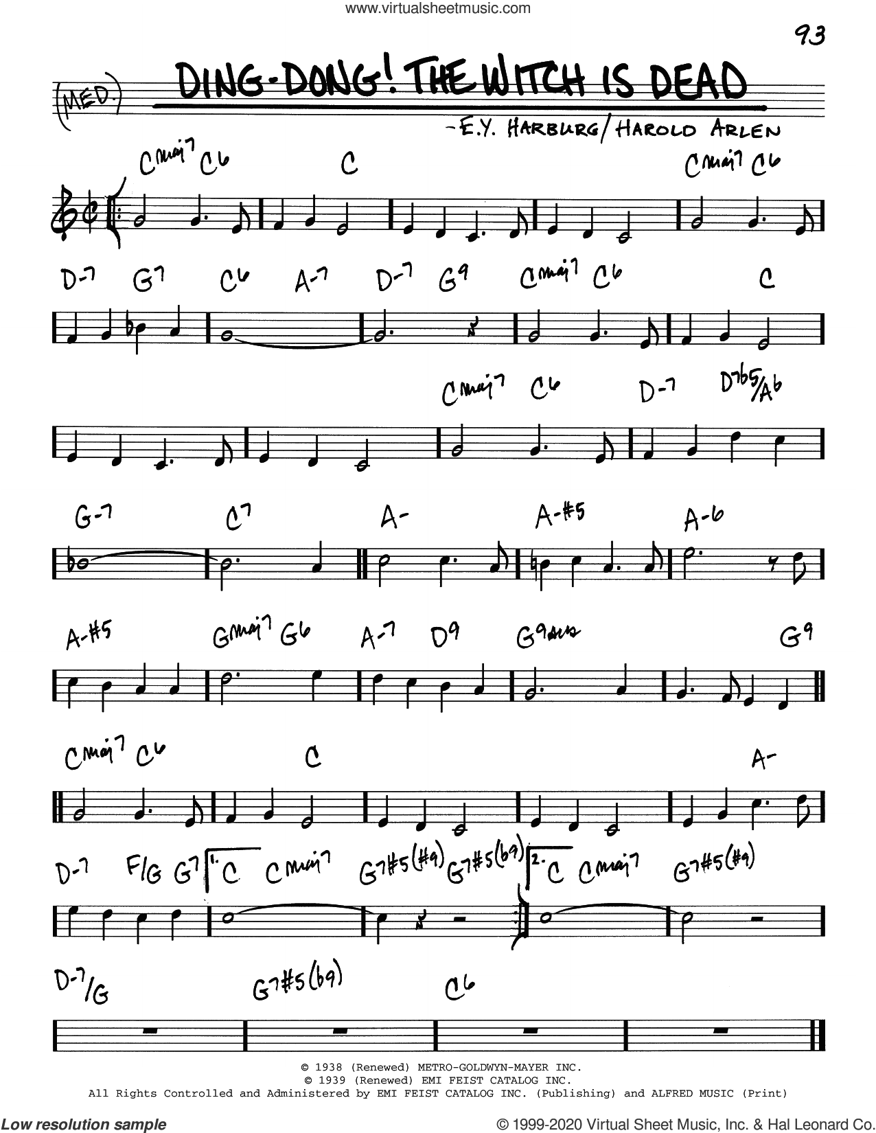 Ding-Dong! The Witch Is Dead sheet music for voice and other instruments (real book) by Harold Arlen, E.Y. 'Yip' Harburg and Harold Arlen and E.Y. Harburg, intermediate skill level