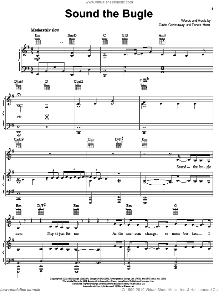 Sound The Bugle sheet music for voice, piano or guitar by Trevor Horn and Gavin Greenaway