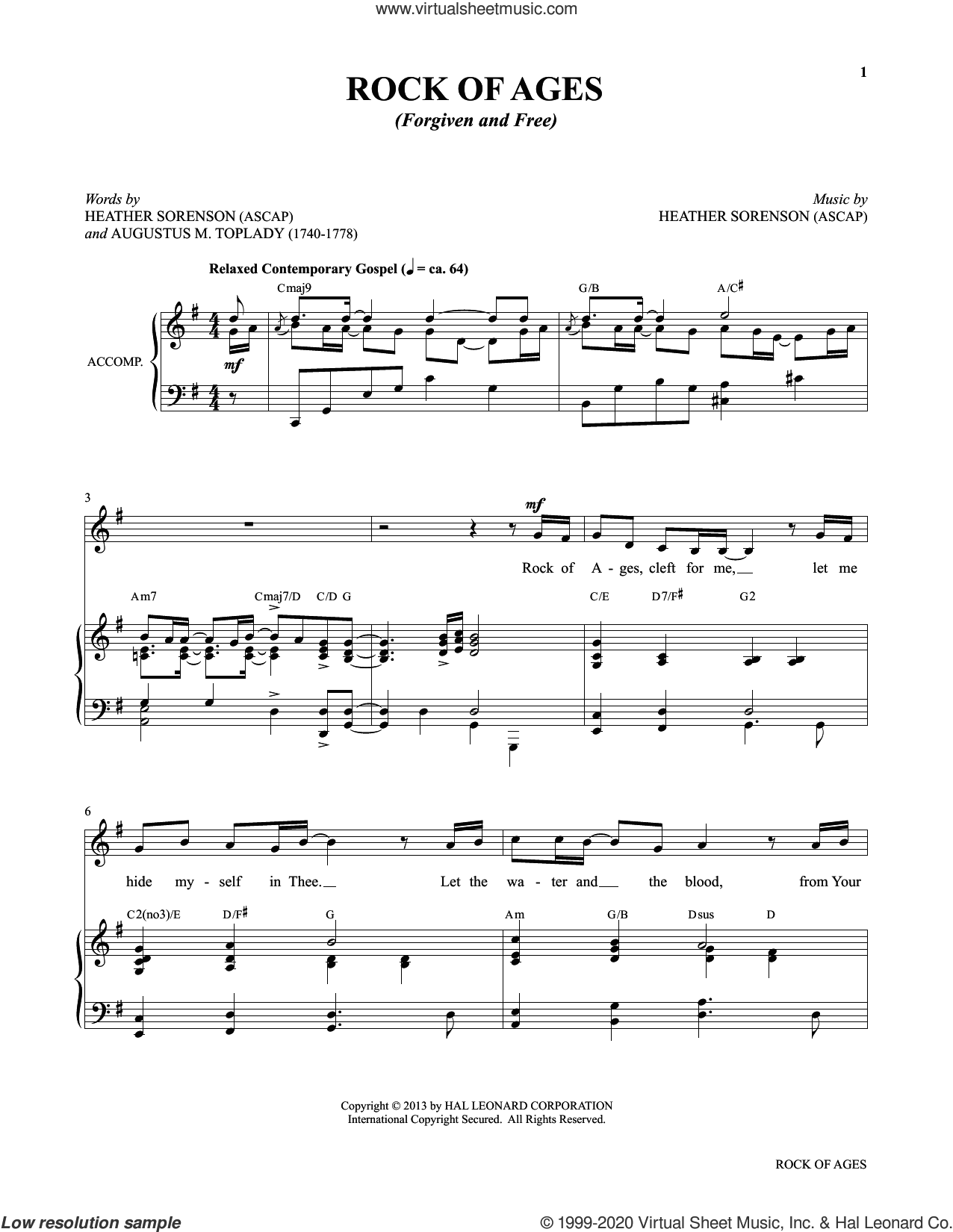 Rock Of Ages (Forgiven And Free) (from My Alleluia: Vocal Solos for Worship) sheet music for voice and piano by Heather Sorenson and Augustus M. Toplady, intermediate skill level
