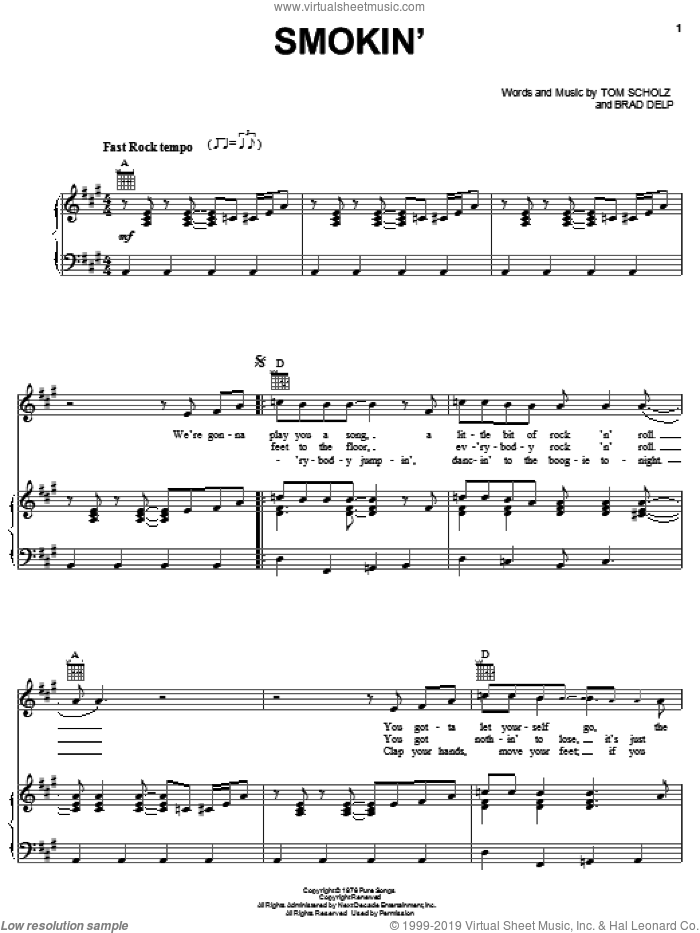 Smokin' sheet music for voice, piano or guitar by Boston, Brad Delp and Tom Scholz, intermediate. Score Image Preview.