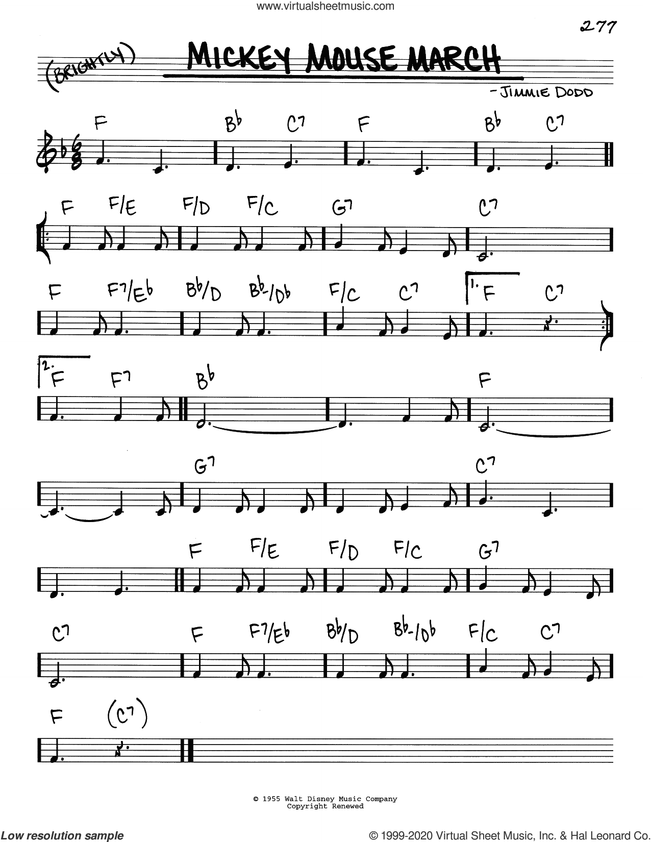 Mickey Mouse March sheet music for voice and other instruments (real book) by Jimmie Dodd, intermediate skill level