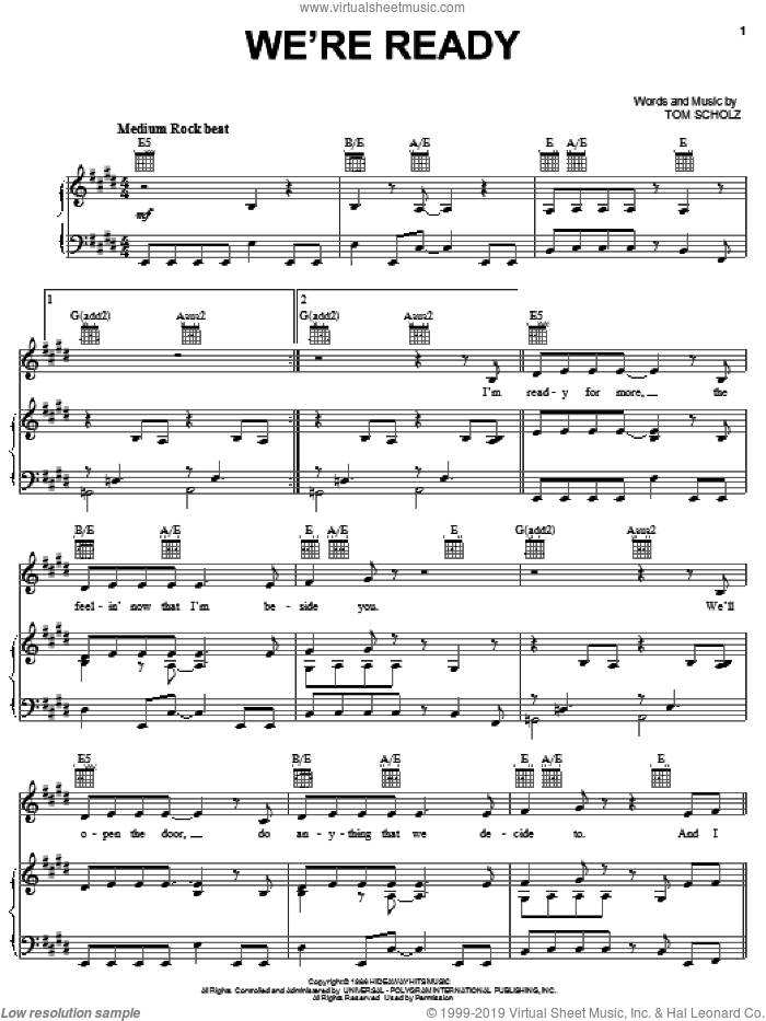 We're Ready sheet music for voice, piano or guitar by Tom Scholz. Score Image Preview.