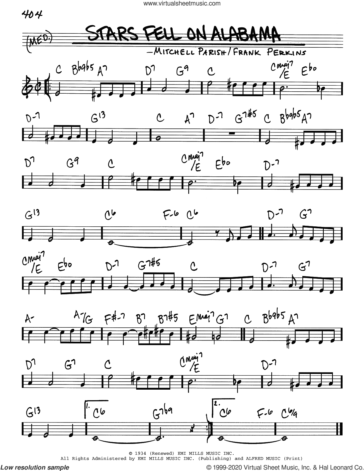 Stars Fell On Alabama sheet music for voice and other instruments (real book) by Mitchell Parish and Frank Perkins, intermediate skill level