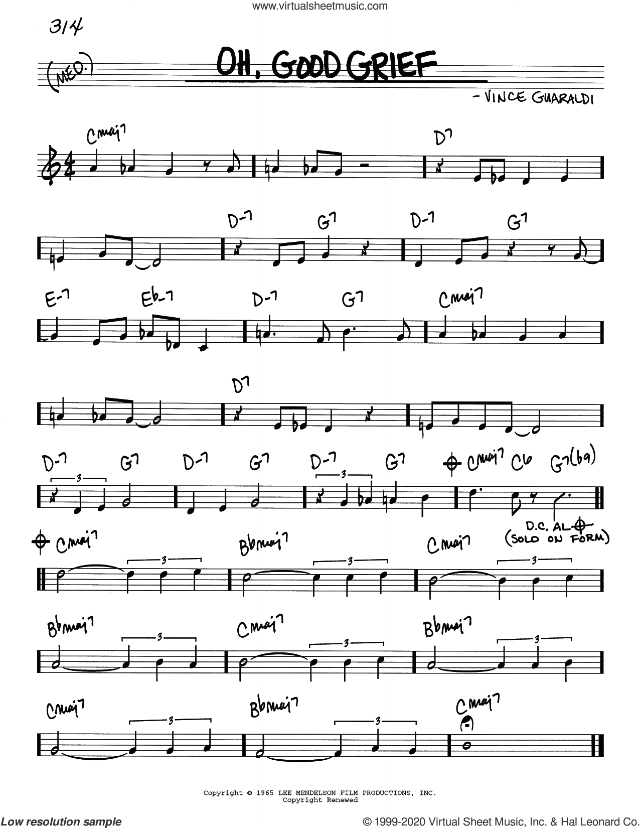 Oh, Good Grief sheet music for voice and other instruments (real book) by Vince Guaraldi, intermediate skill level