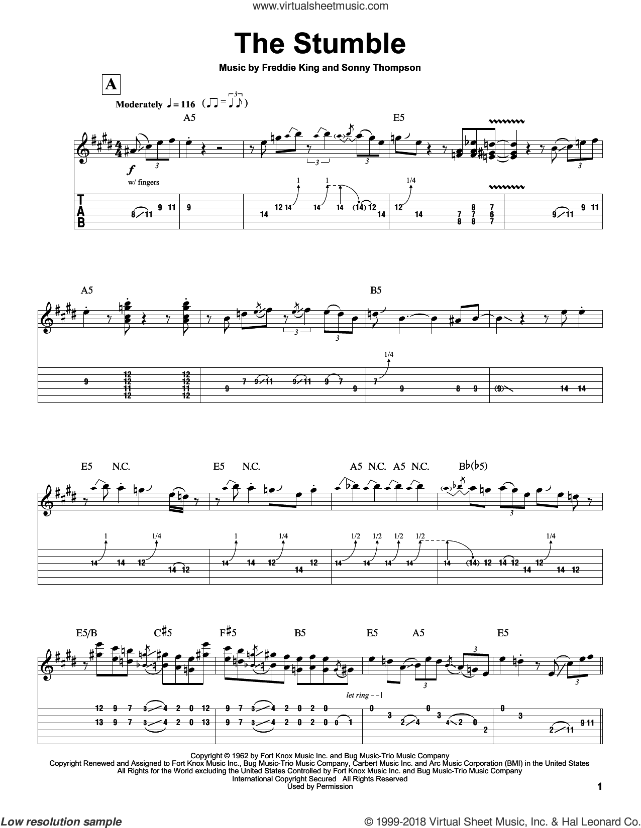 The Stumble sheet music for guitar (tablature, play-along) by Freddie King. Score Image Preview.
