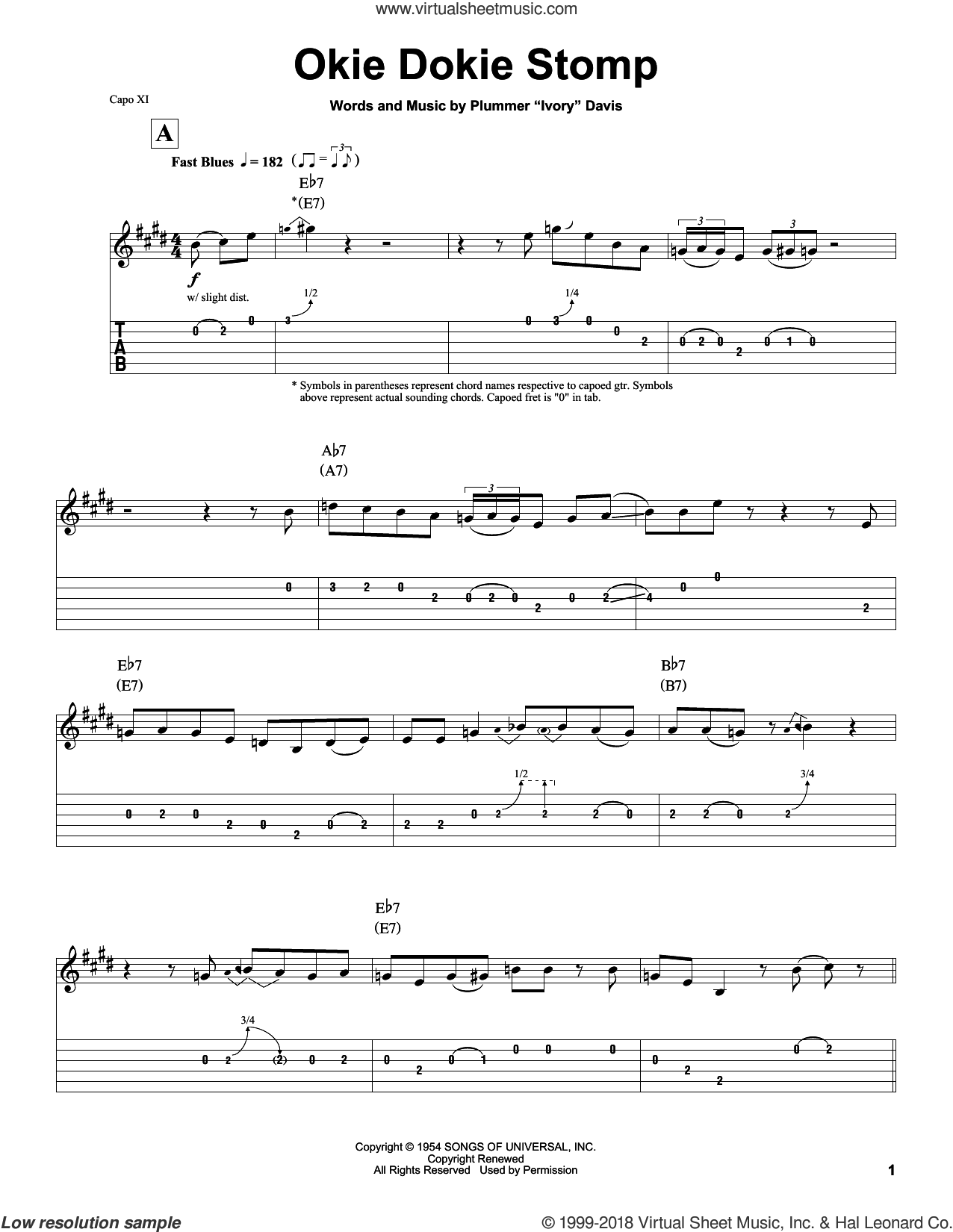Okie Dokie Stomp sheet music for guitar (tablature, play-along) by Clarence