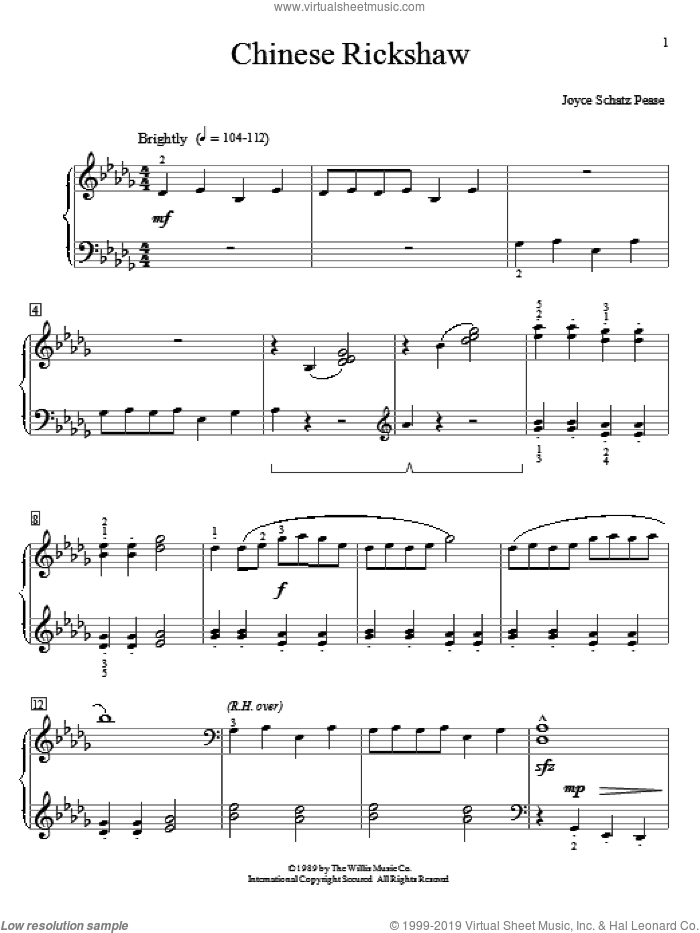 Chinese Rickshaw sheet music for piano solo (elementary) by Joyce Schatz Pease. Score Image Preview.
