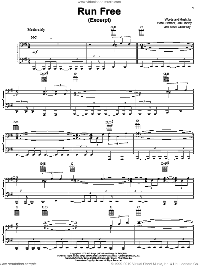 Run Free sheet music for voice, piano or guitar by Hans Zimmer, Spirit: Stallion Of The Cimarron (Movie), Jim Dooley and Steve Jablonsky, intermediate skill level