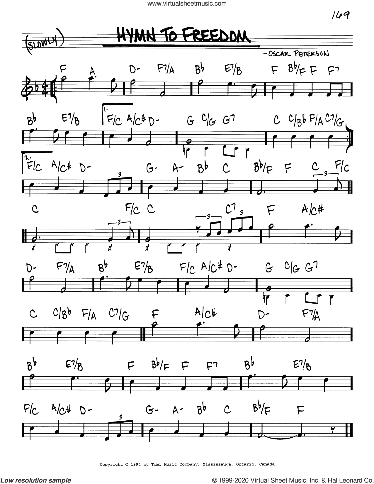 Hymn To Freedom sheet music for voice and other instruments (real book) by Oscar Peterson, intermediate skill level