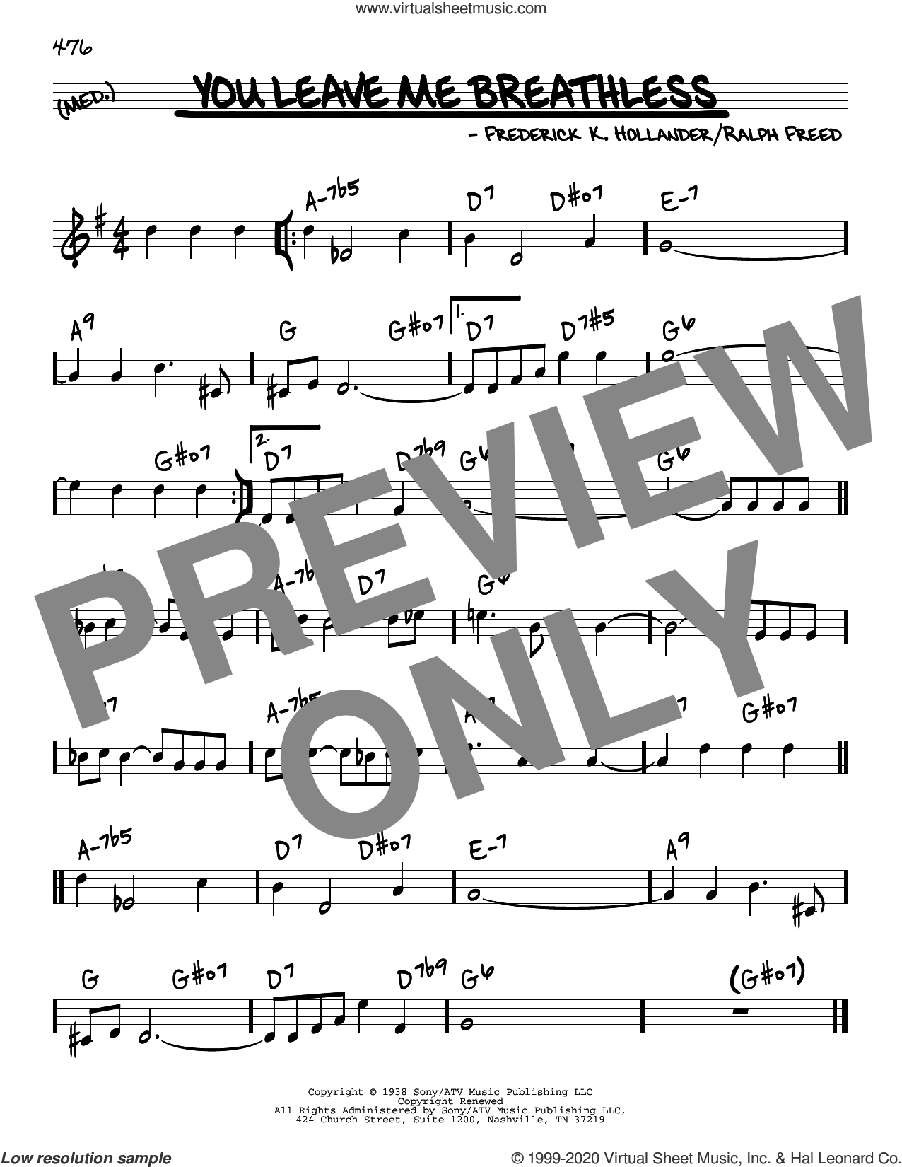 You Leave Me Breathless sheet music for voice and other instruments (real book) by Tommy Dorsey & His Orchestra, Joe Williams, Frederick K. Hollander and Ralph Freed, intermediate skill level