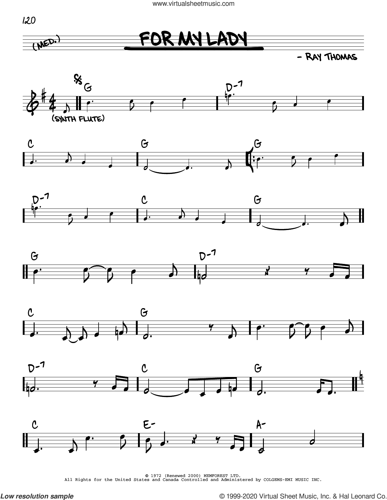For My Lady sheet music for voice and other instruments (real book) by The Moody Blues and Ray Thomas, intermediate skill level