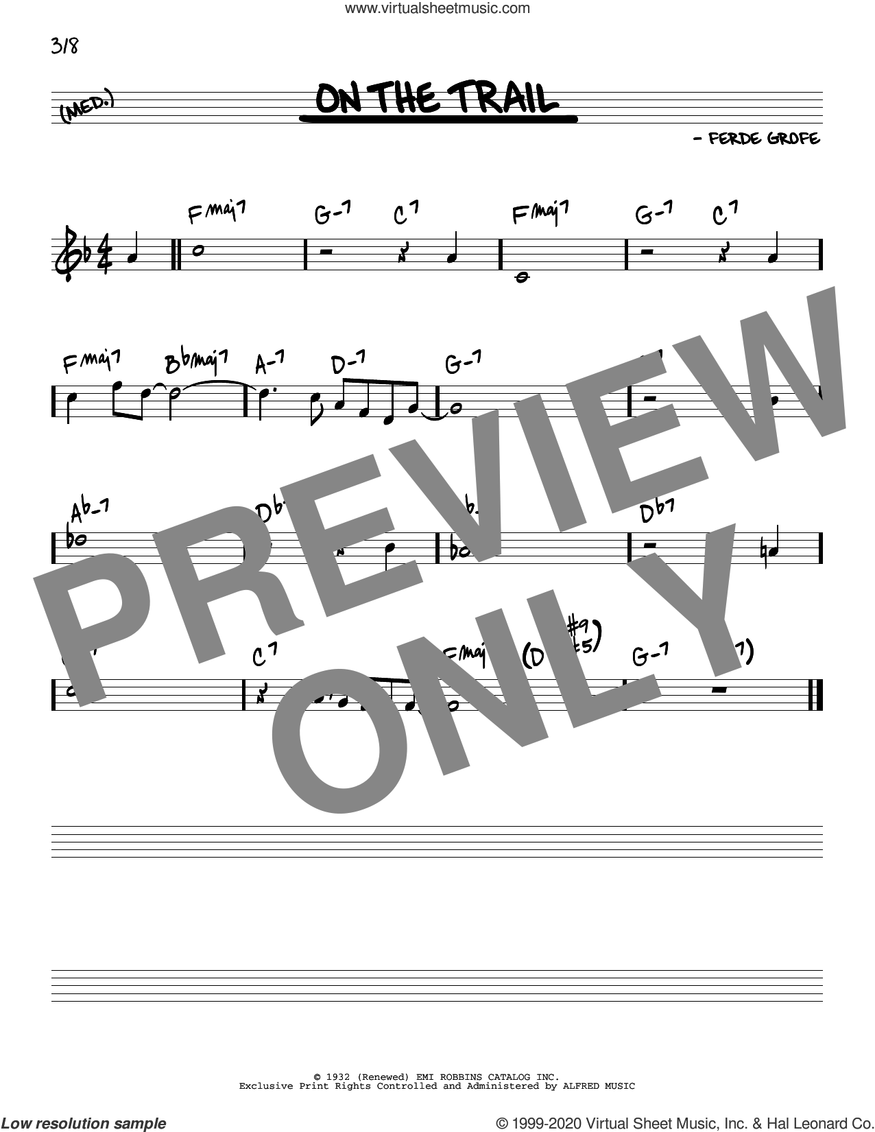 On The Trail sheet music for voice and other instruments (real book) by Ferde Grofe, intermediate skill level