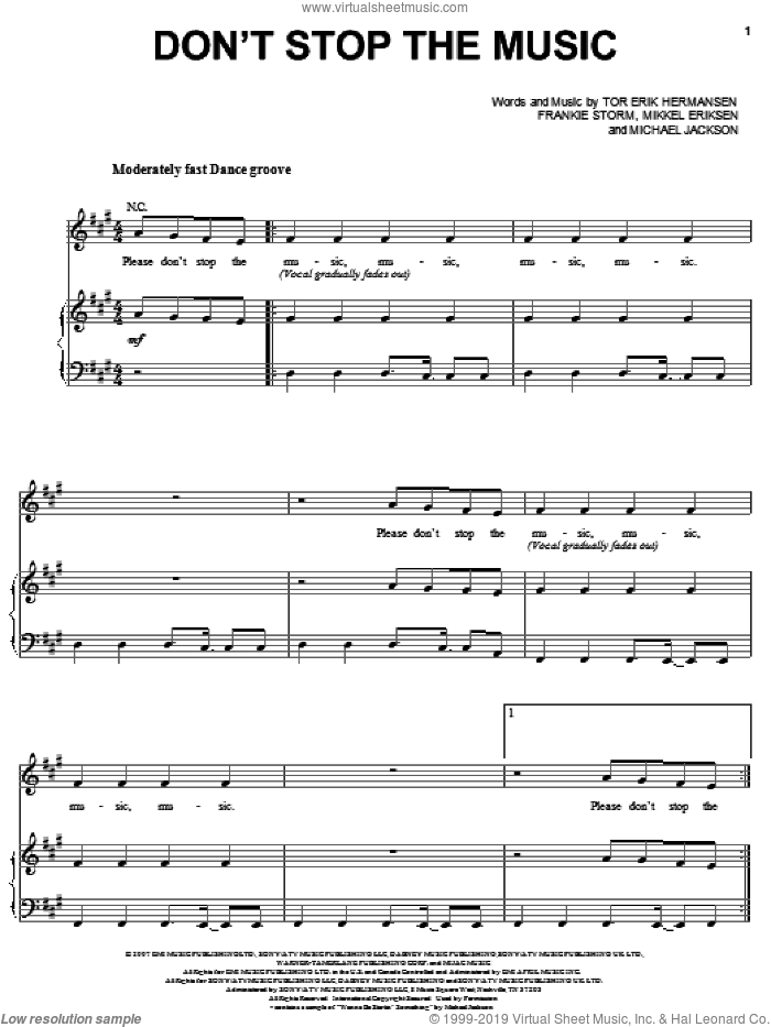 Don't Stop The Music sheet music for voice, piano or guitar by Rihanna, Frankie Storm, Michael Jackson, Mikkel Eriksen and Tor Erik Hermansen, intermediate skill level
