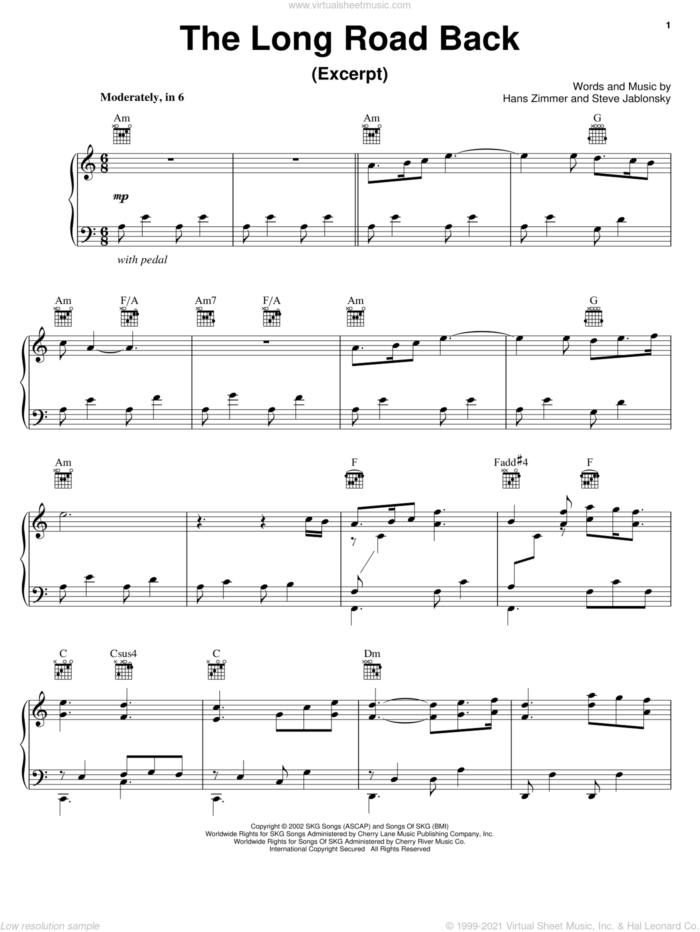 The Long Road Back sheet music for voice, piano or guitar by Hans Zimmer, Spirit: Stallion Of The Cimarron (Movie) and Steve Jablonsky, intermediate. Score Image Preview.