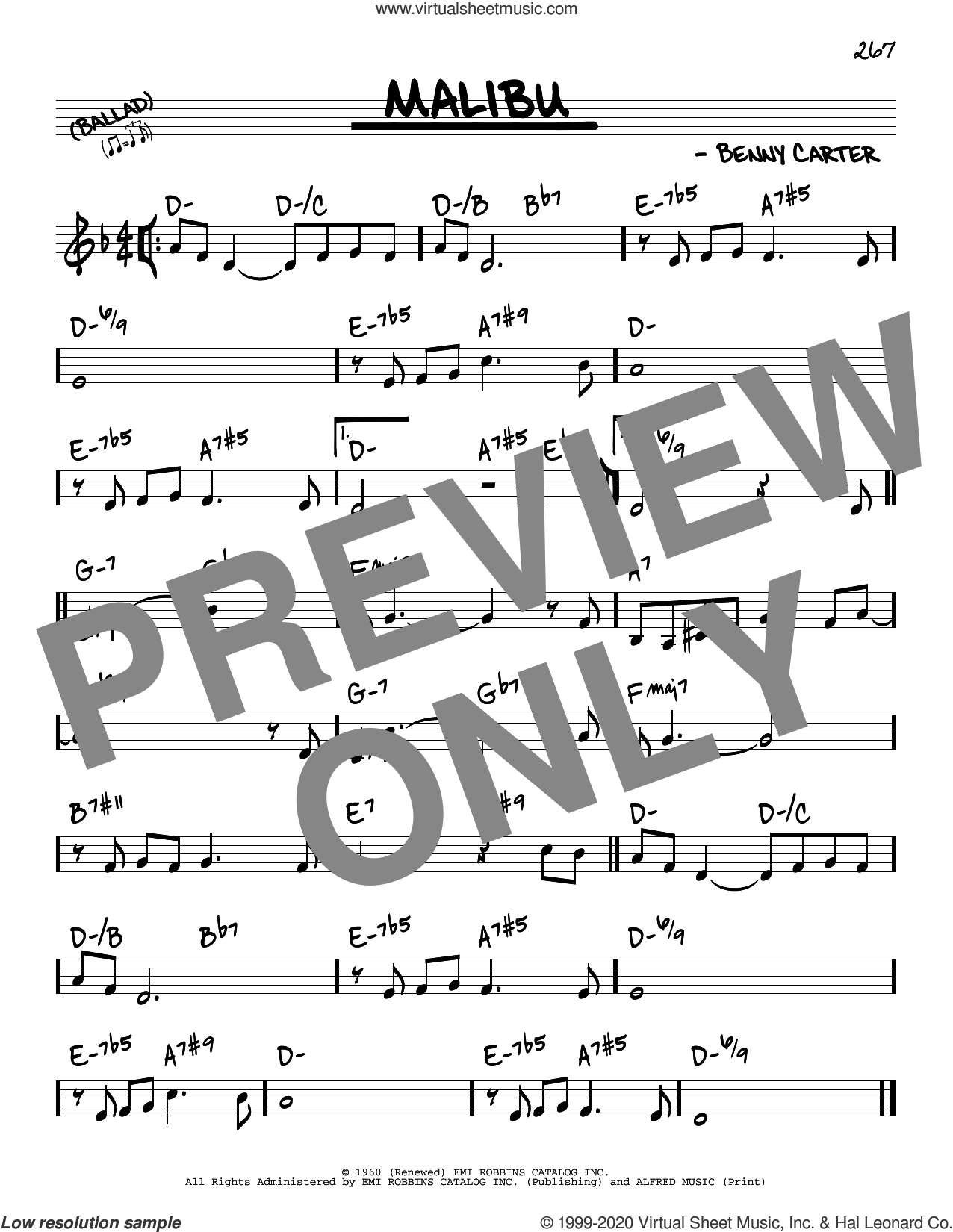 Malibu sheet music for voice and other instruments (real book) by Benny Carter, intermediate skill level