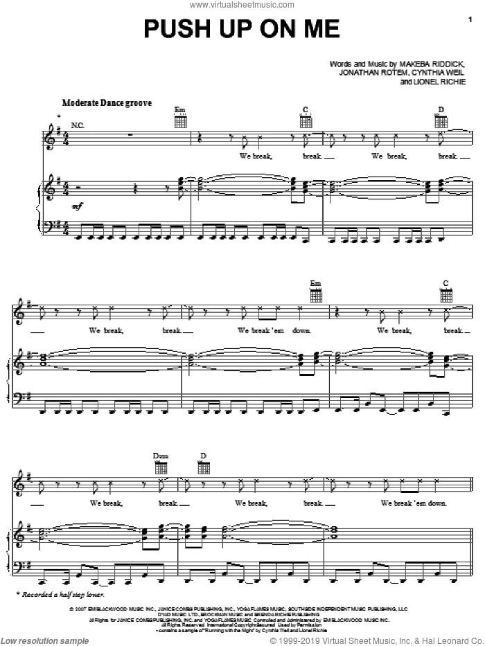 Push Up On Me sheet music for voice, piano or guitar by Rihanna, Cynthia Weil, Jonathan Rotem, Lionel Richie and Makeba Riddick. Score Image Preview.