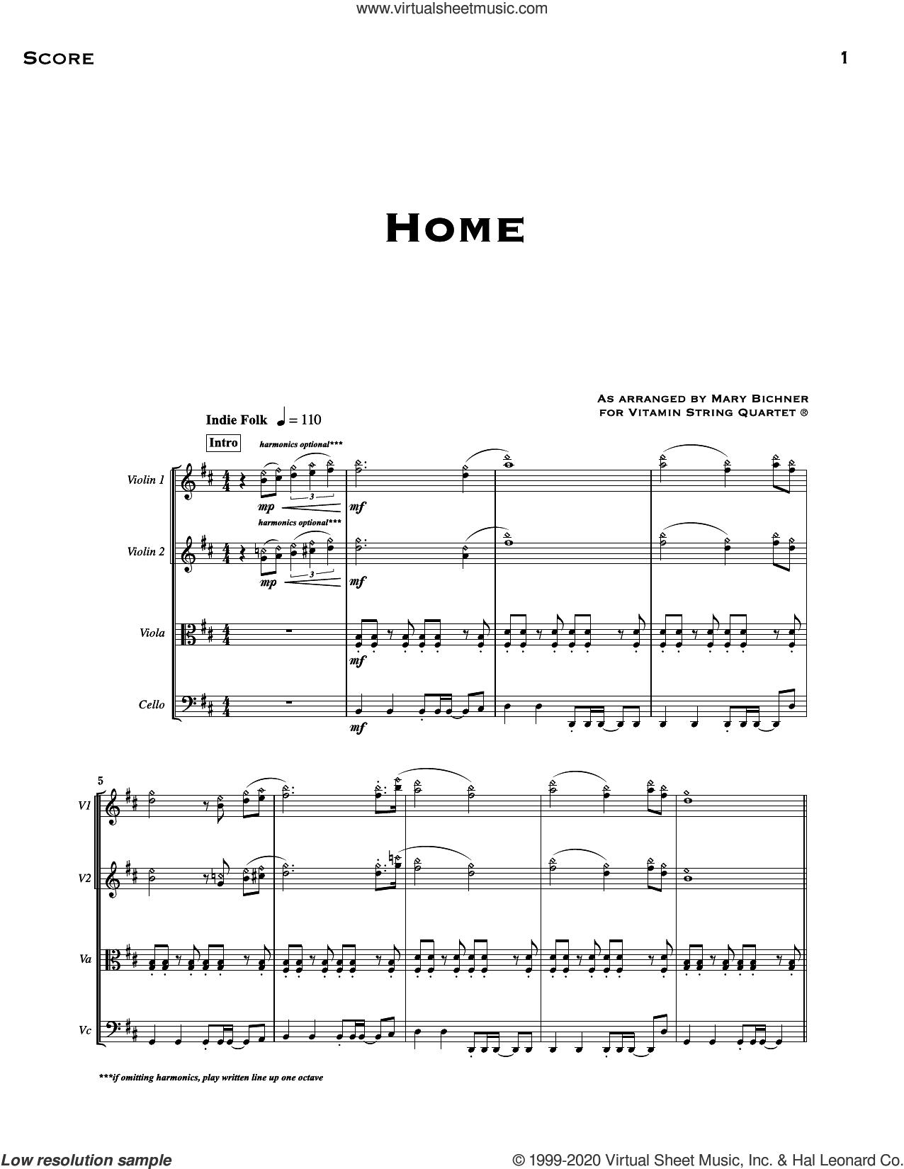 Home (arr. Mary Bichner) (COMPLETE) sheet music for string quartet (violin, viola, cello) by Vitamin String Quartet, Alex Ebert, Edward Sharpe & the Magnetic Zeros, Jade Castrinos and Mary Bichner, intermediate skill level